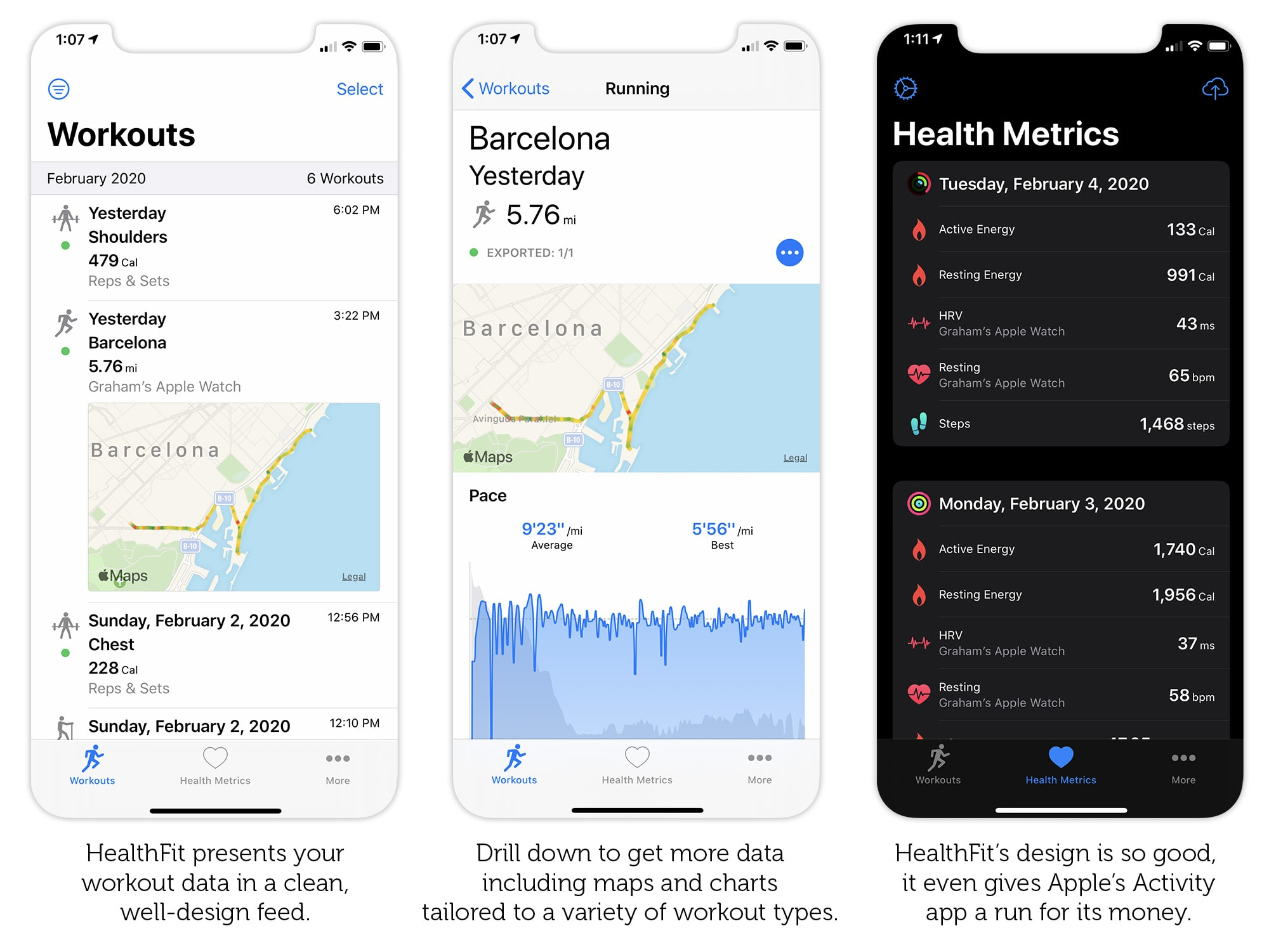 Aside from letting you sync Apple Watch workouts to Strava, HealthFit is a great app in its own right.