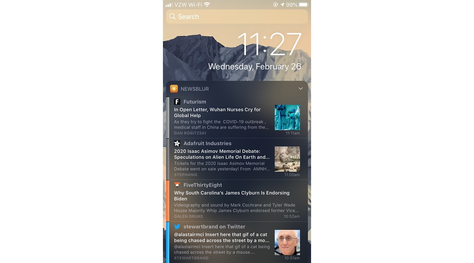 NewsBlur, now in a widget.