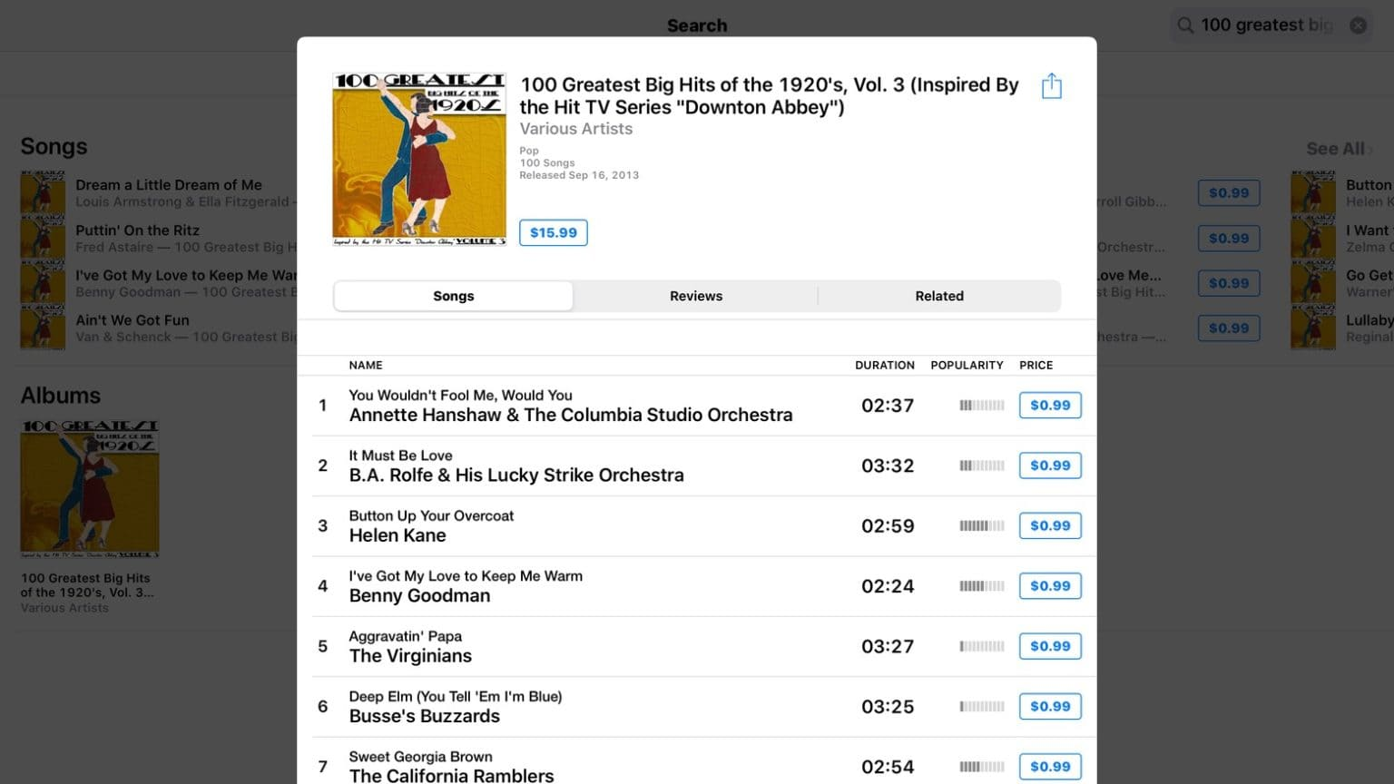 100 Greatest Big Hits of the 1920's, Vol. 3 continues multipolar examples of music piracy on Apple iTunes.