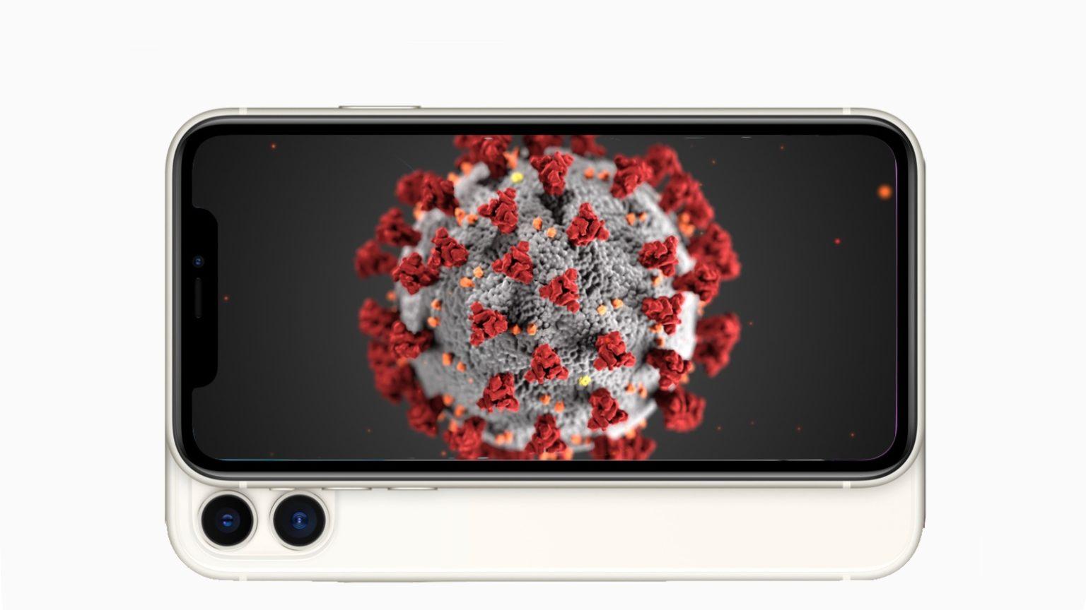iPhone showing coronavirus that causes COVID-19