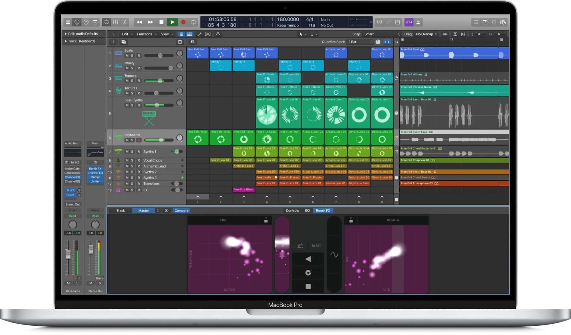 Logic Pro X Live Loops: This screenshot shows an as-yet unreleased version of Logic Pro X