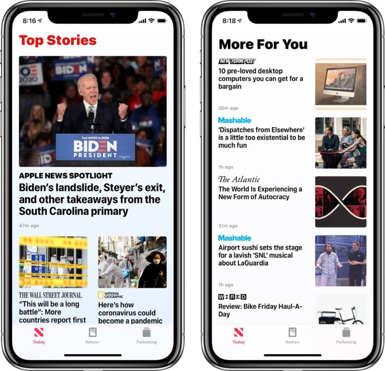The Apple News app showing a standard view and a restricted story view: Restrict Stories in Today means you see the stories you're most interested in, and way less junk