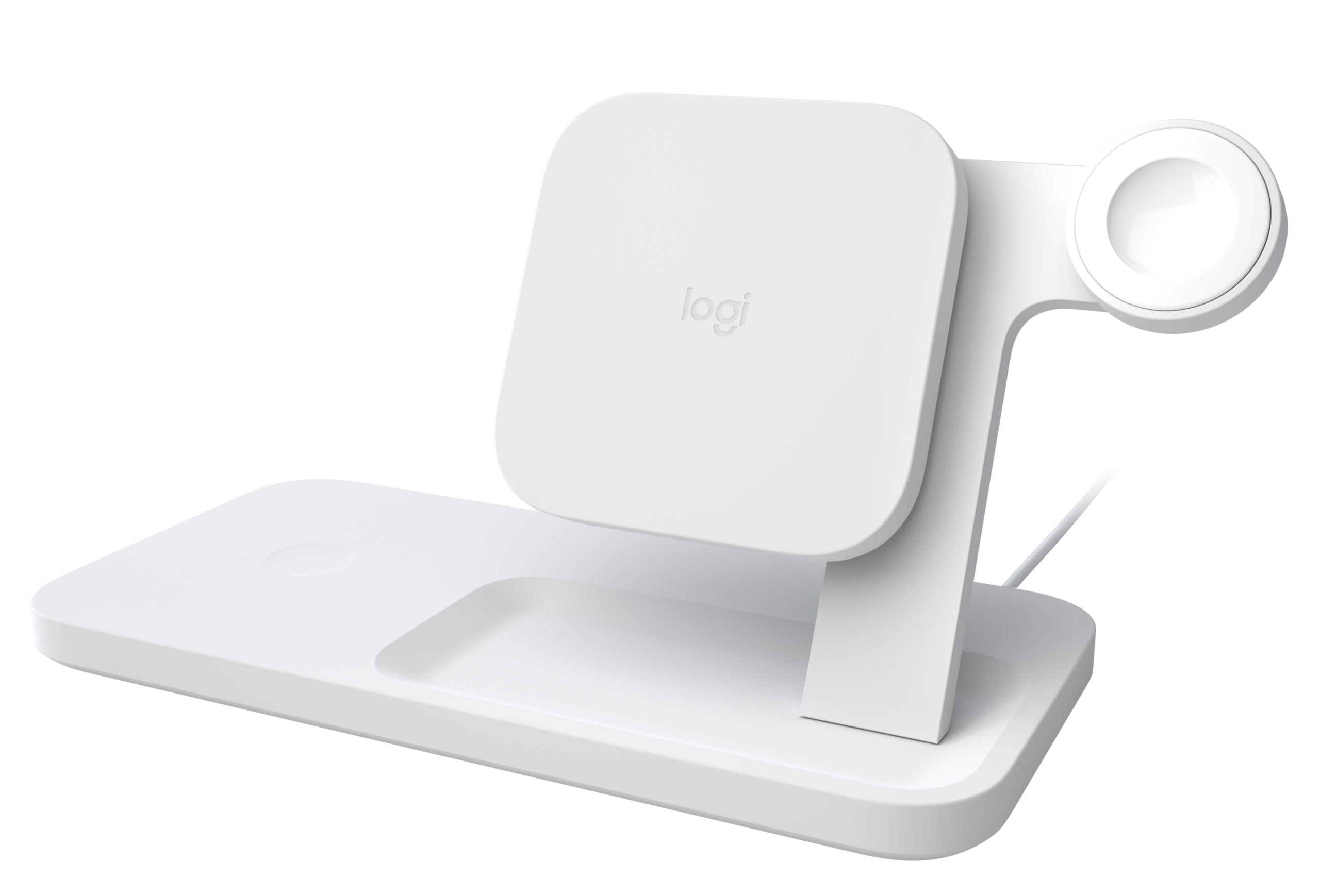 Logitech Powered Wireless Charging 3-in-1 Dock in white