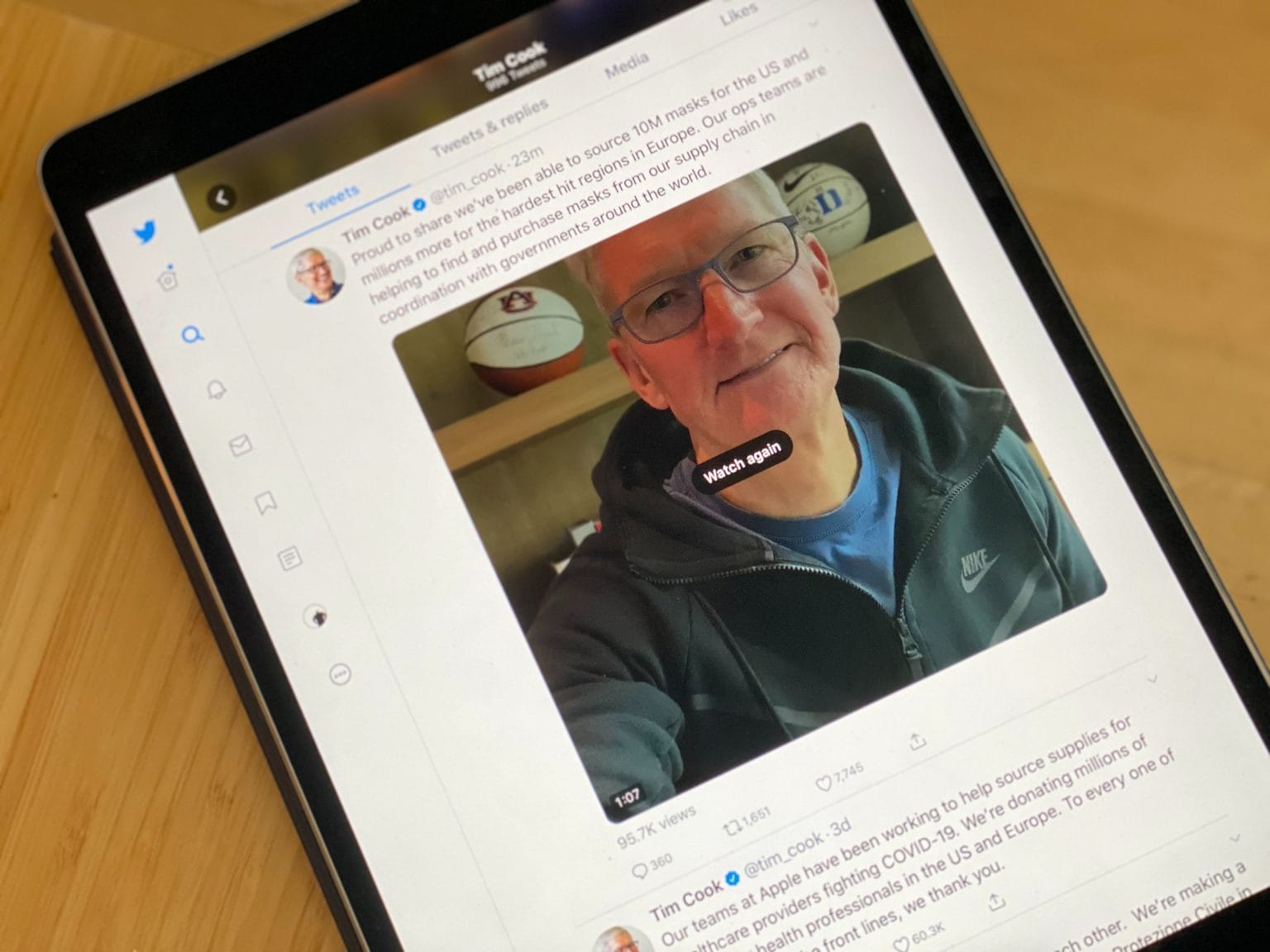 CEO Tim Cook hops on Twitter to offer some coronavirus advice and talk about Apple's mask donations.