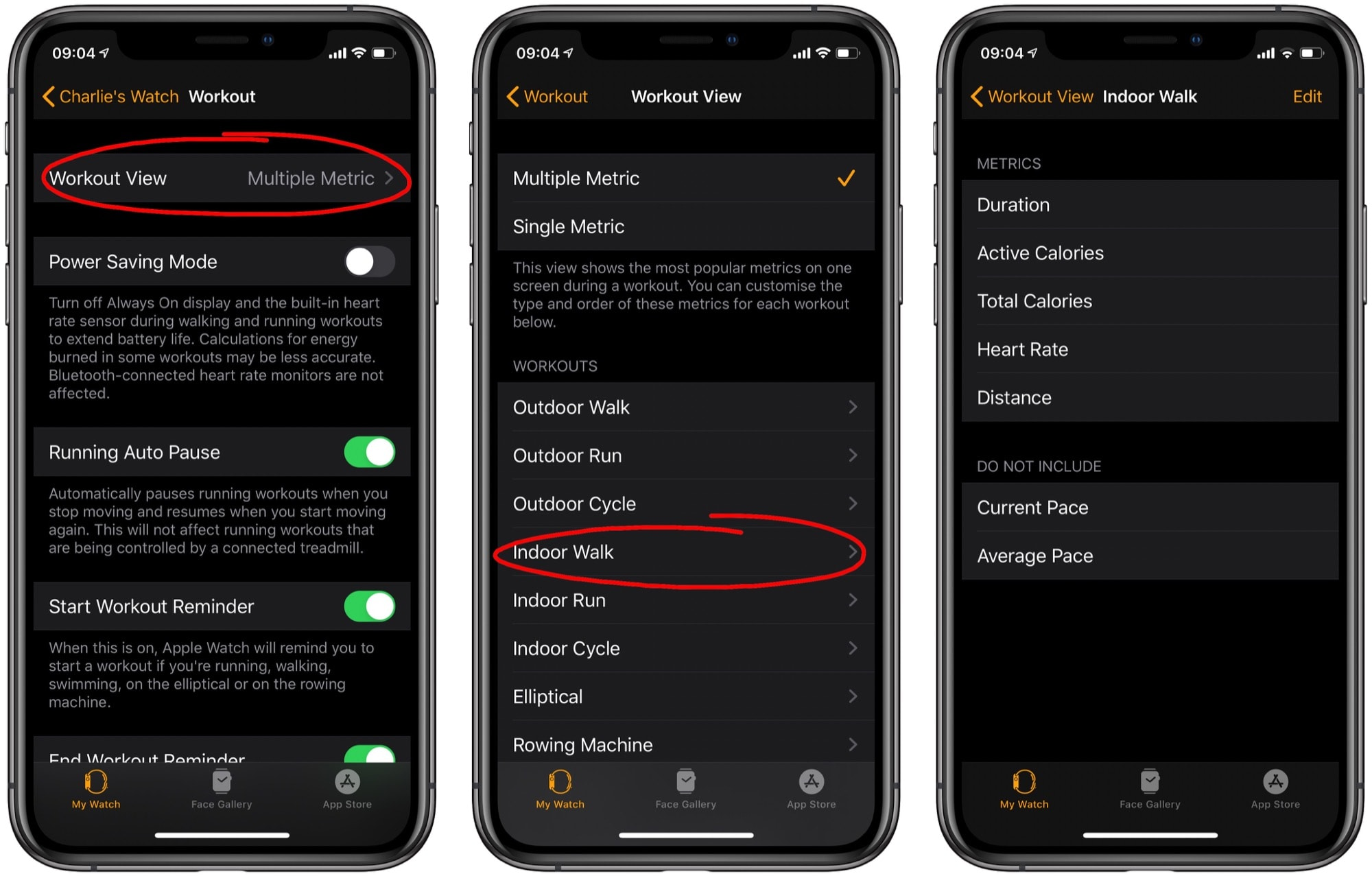This is where you customize Apple Watch workout options.