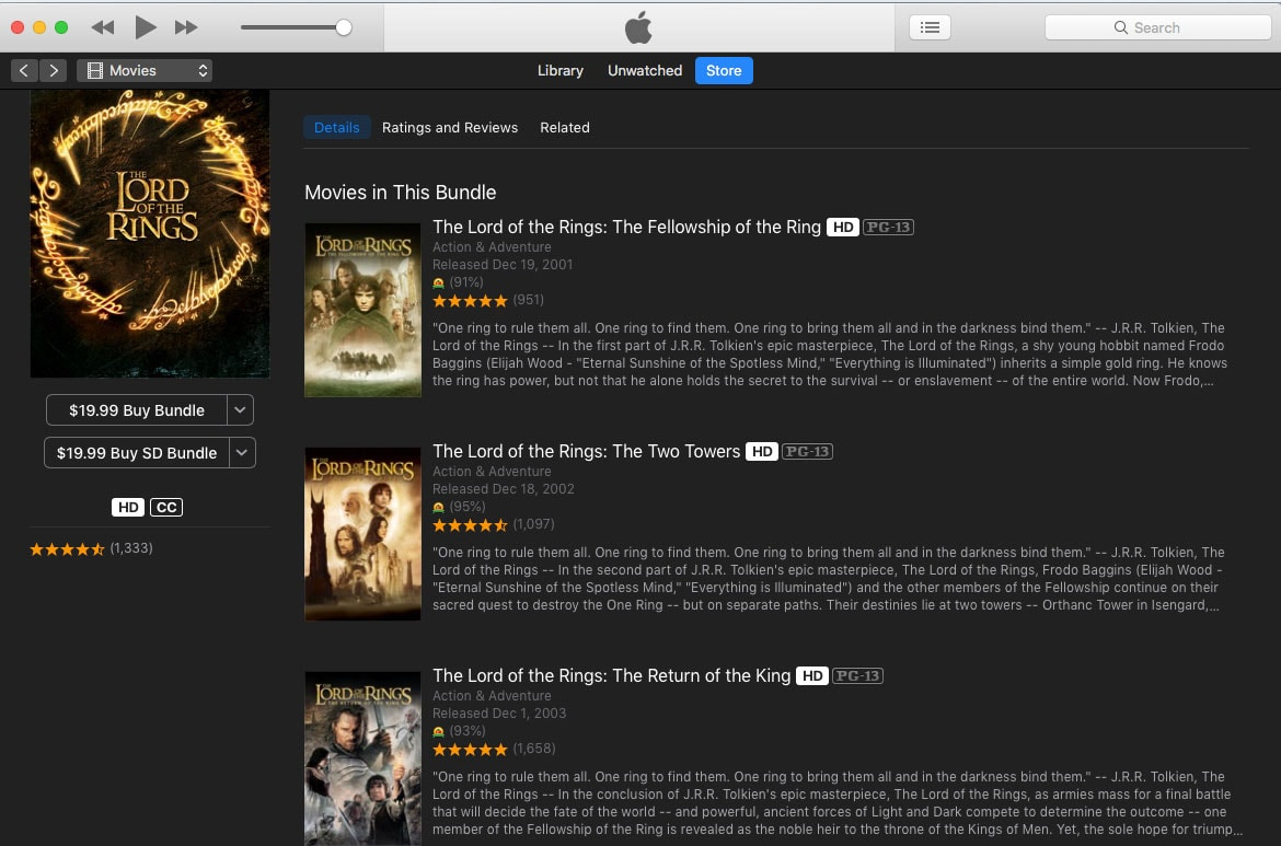 Lord of the Rings in iTunes