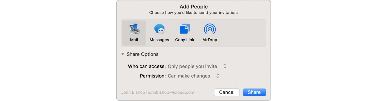 Share an iCloud Folder from the Mac Finder.