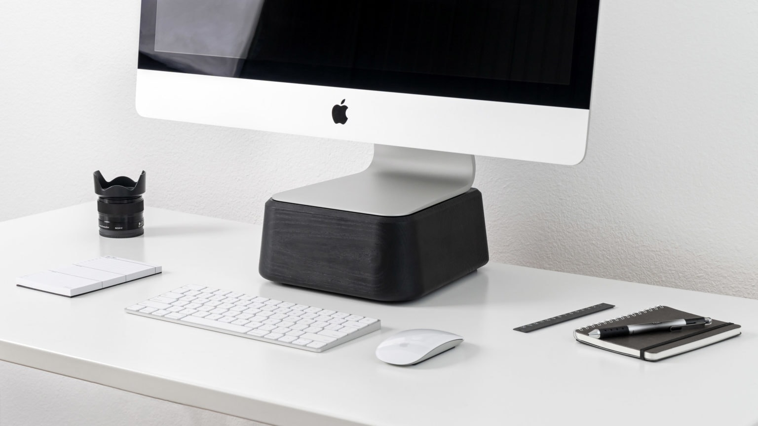 Base for iMac makes your desktop more ergonomic.