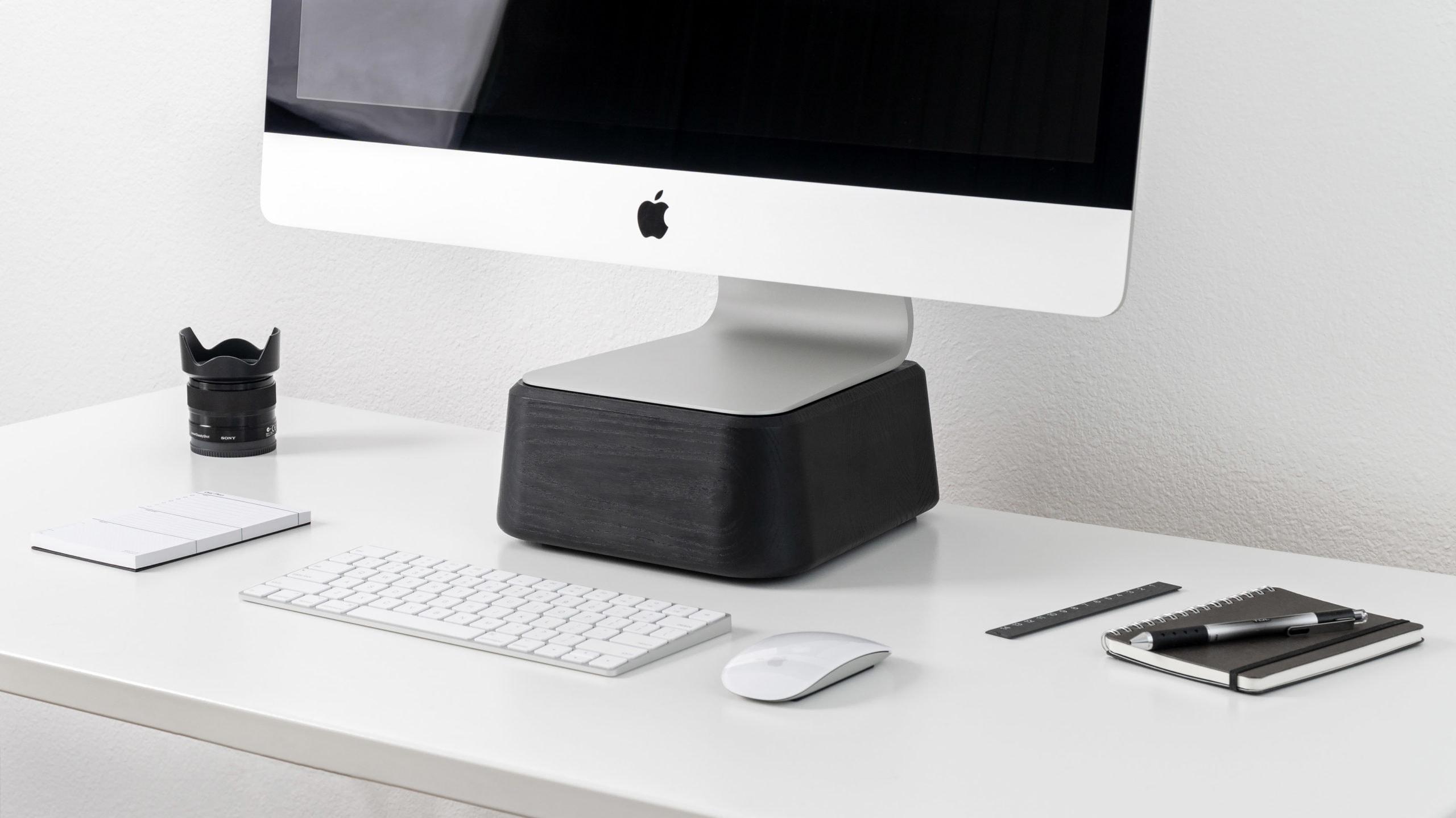 Base for iMac makes your desktop more ergonomic.