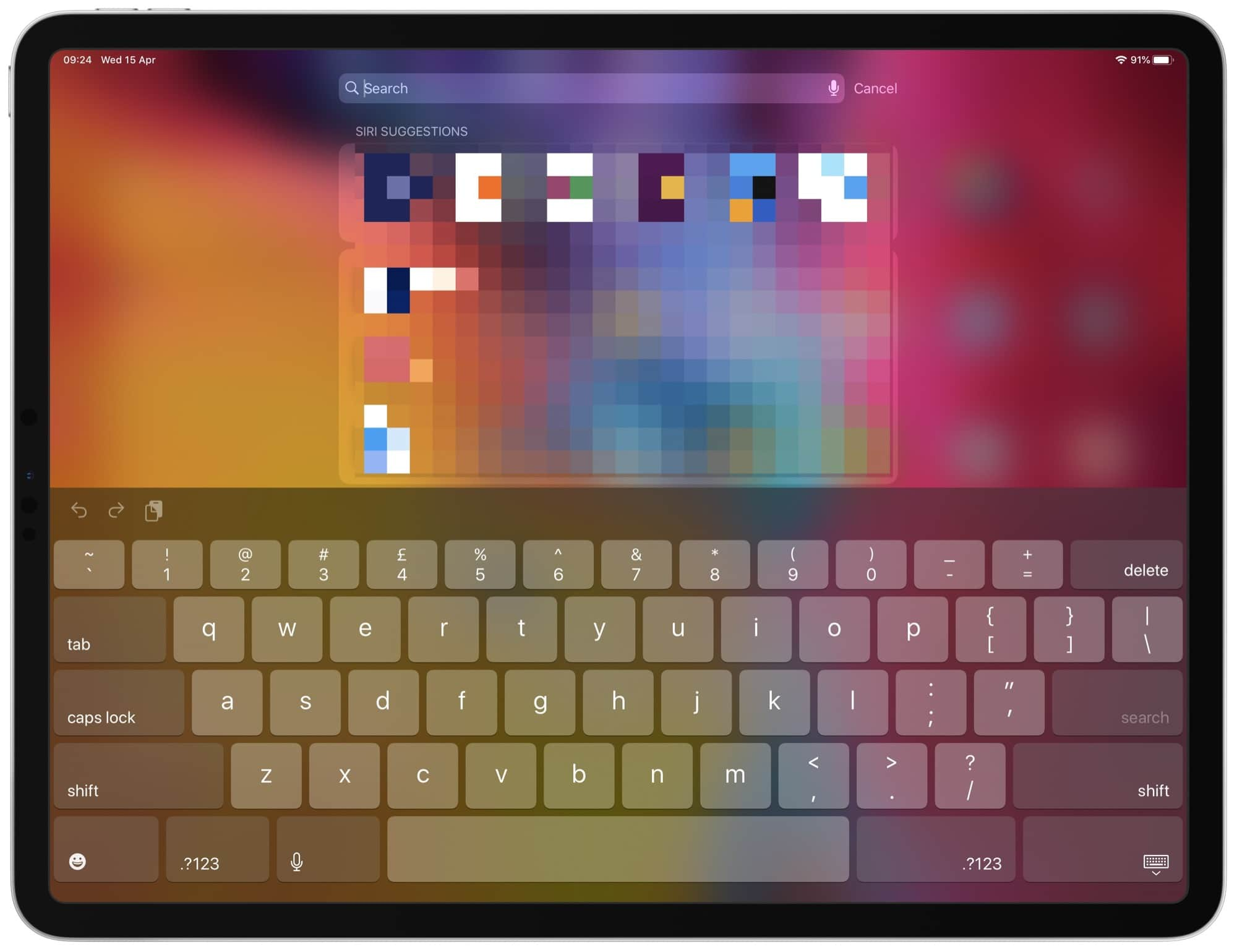 On the 13-inch iPad Pro, the upper symbols are available using keyboard flicks.