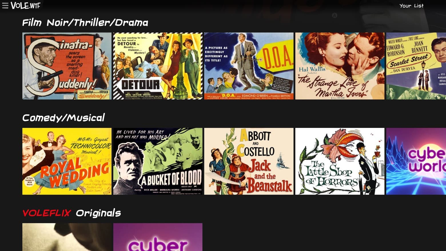 Everything on Voleflix is public domain and free.