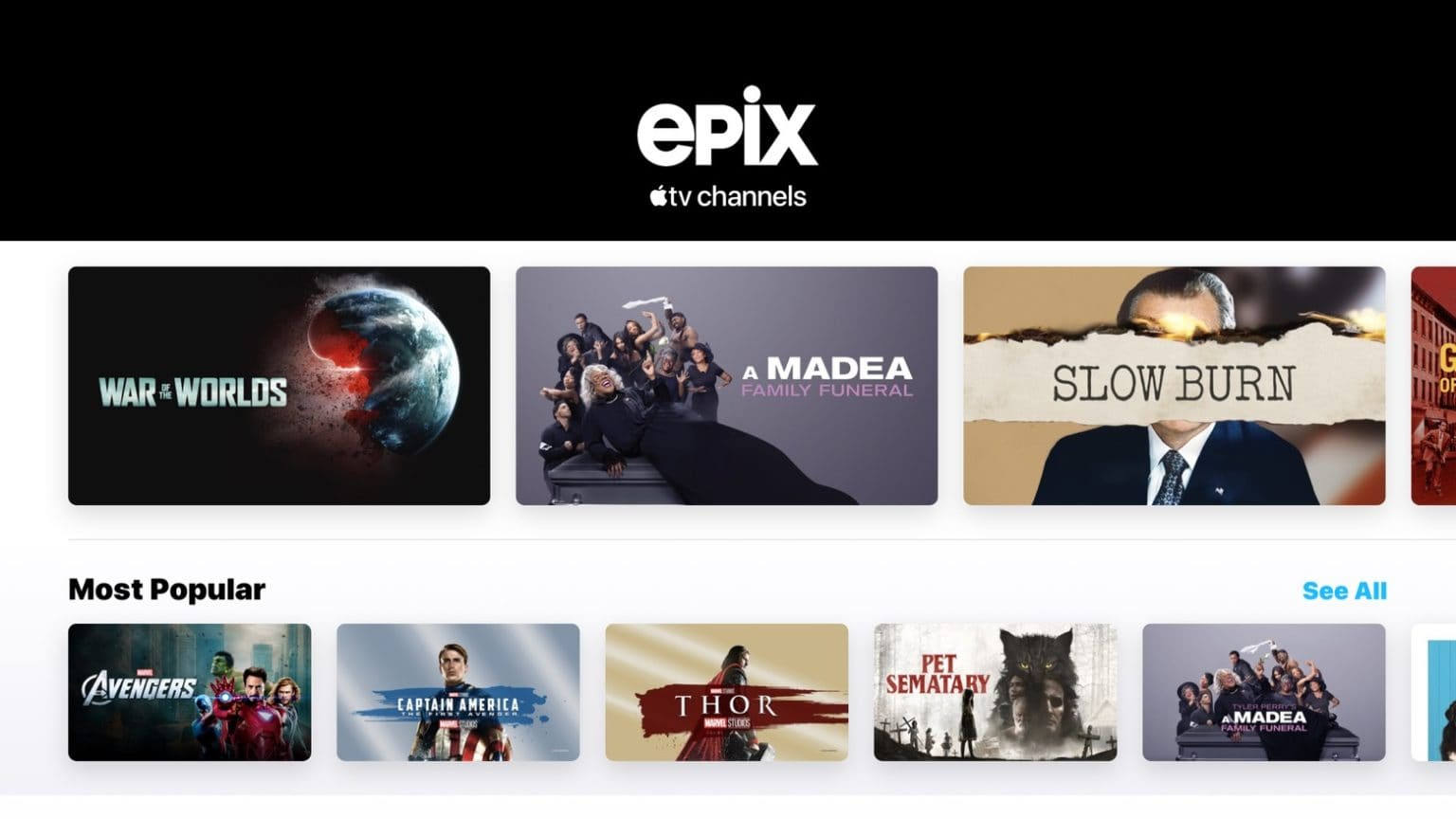 Epix is available through the Apple TV app.