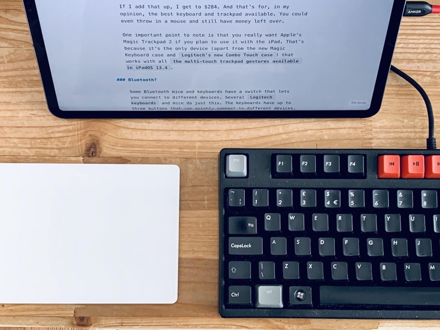 iPad, share keyboard, and trackpad