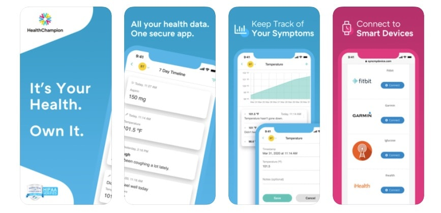 HealthChampion now tracks COVID-19 symptoms.