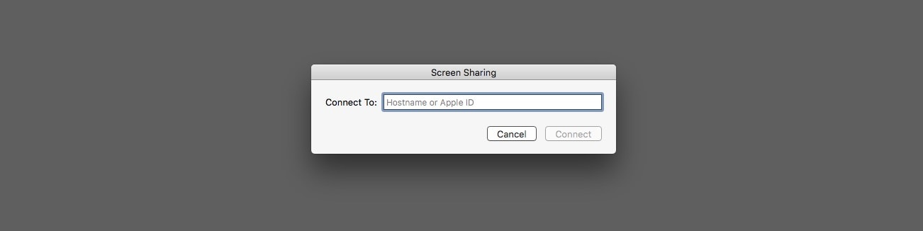 To open Mac Screen Sharing app, go into Spotlight and tap in an Apple ID.