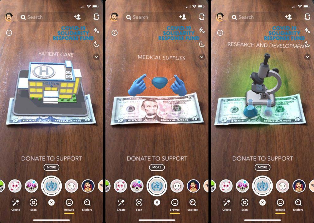Snapchat screen shots for COVID-19 donations