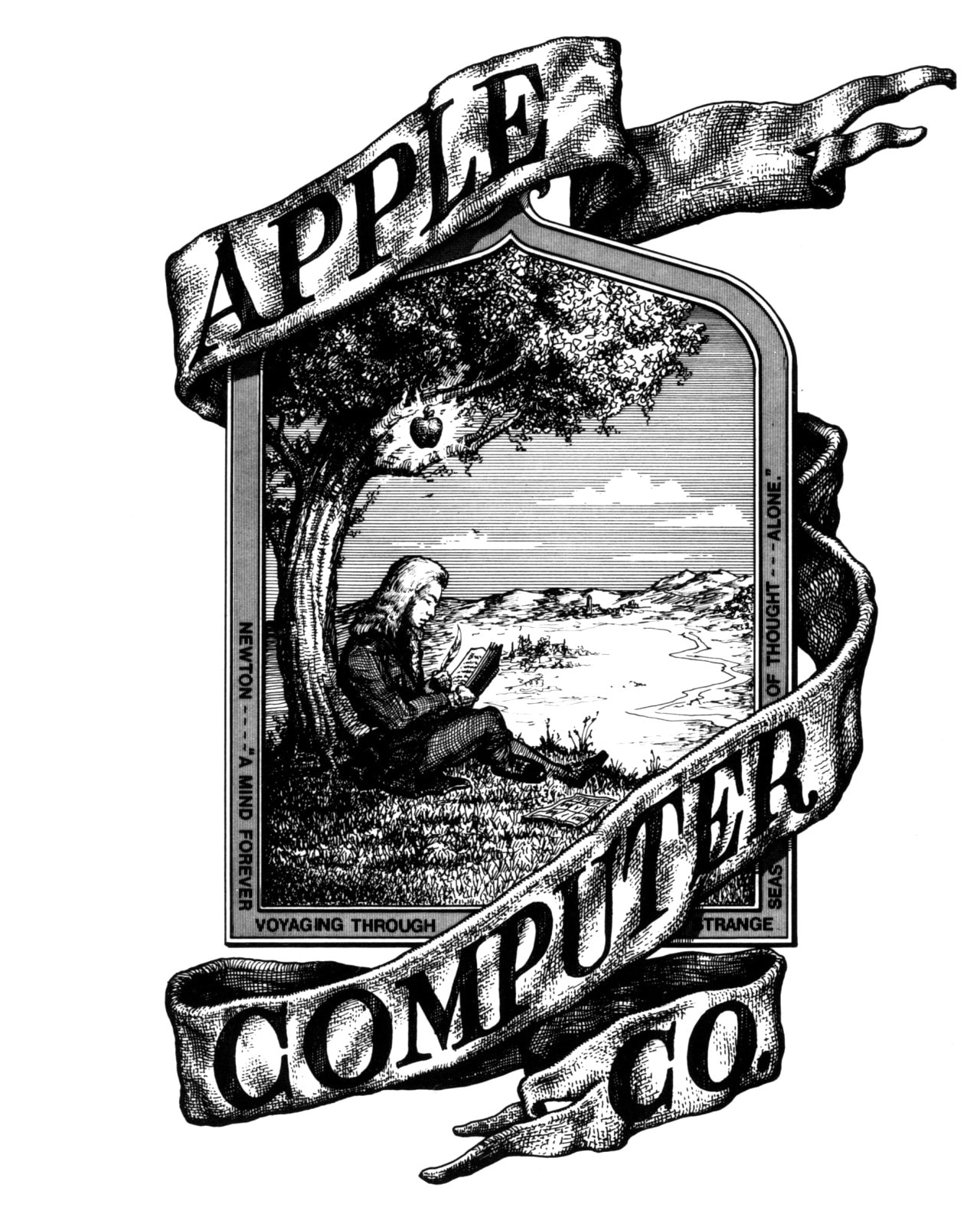 Original Apple logo: Ron Wayne drew Apple's first corporate logo. He tried to include his signature as part of the design, but Steve Jobs made him remove it.