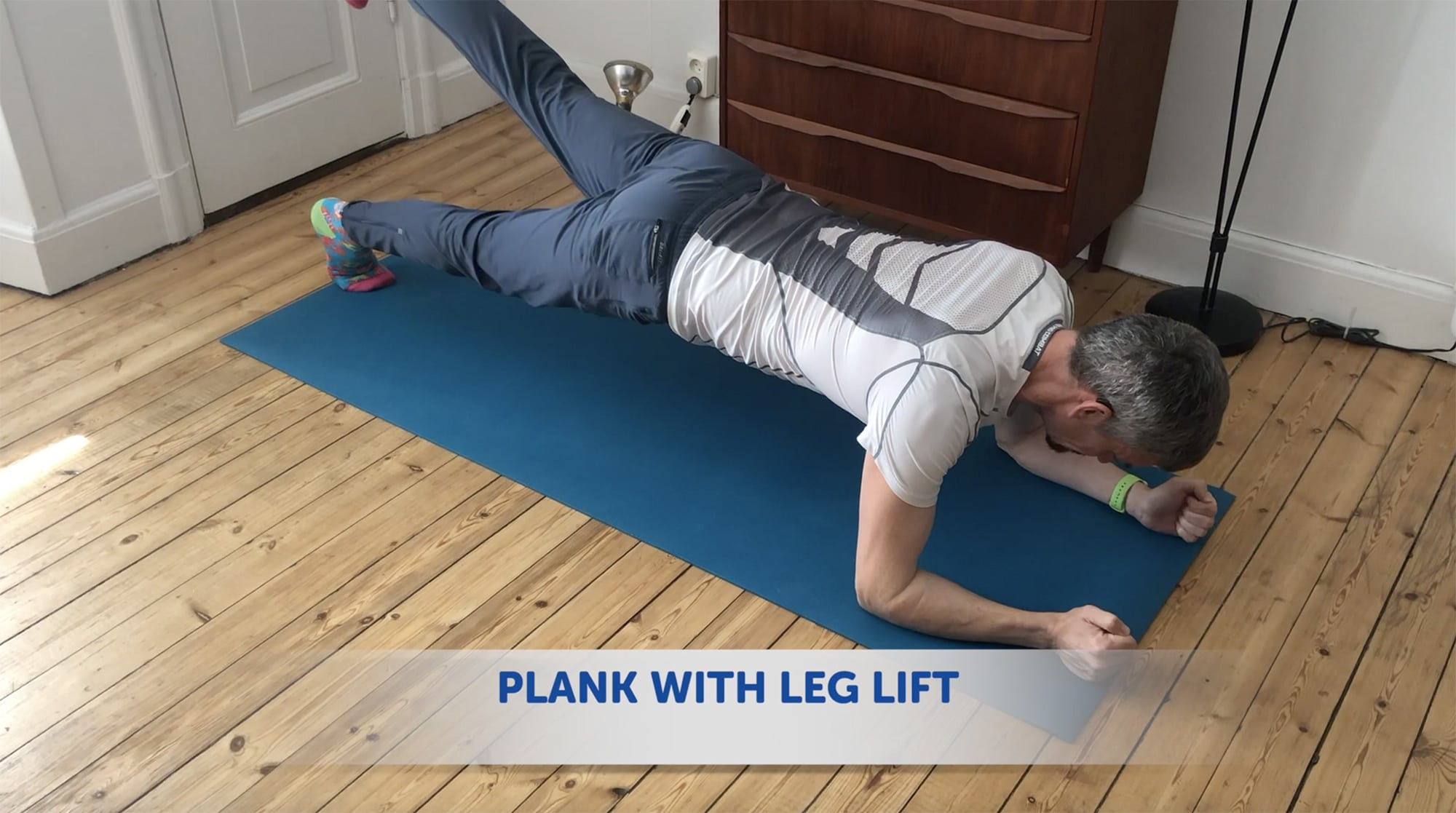 Add a leg lift to make your plank more challenging
