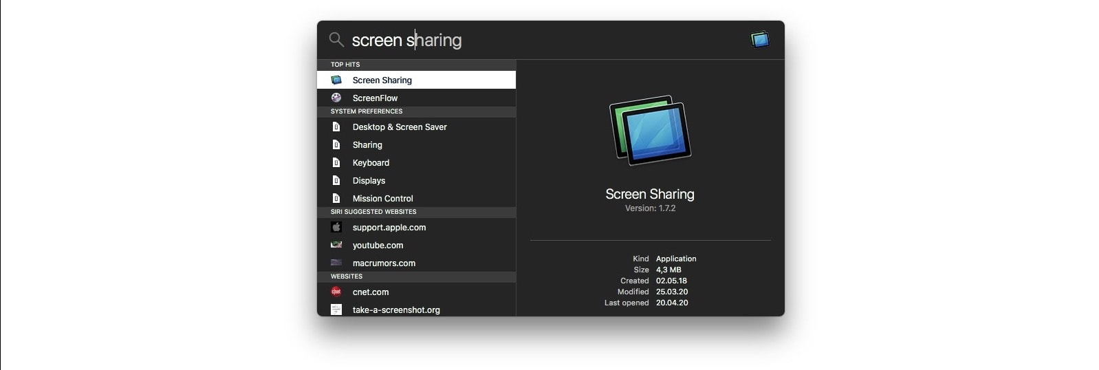 Use Spotlight to open the Screen Sharing application on your Mac.