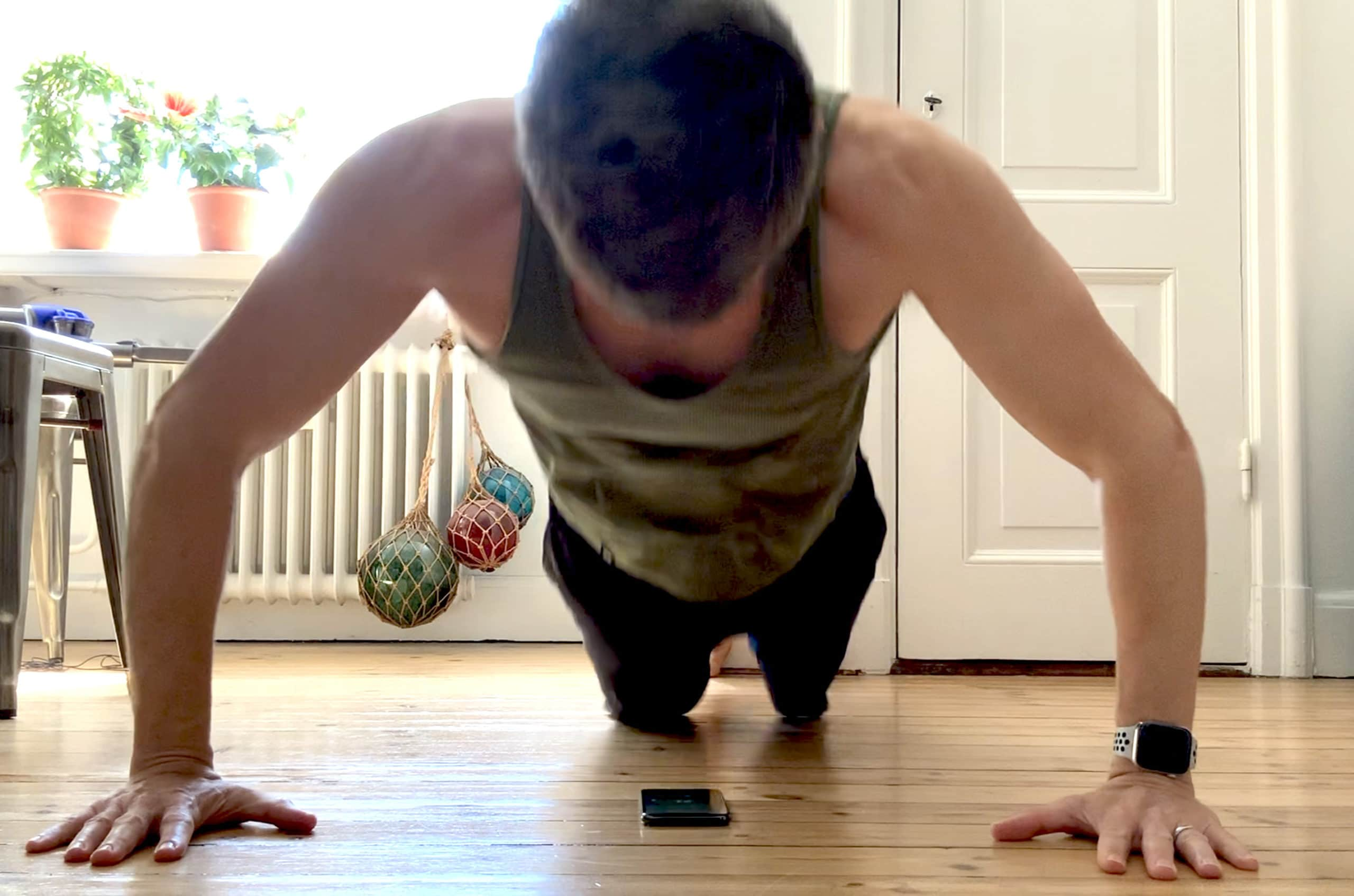 Place your iPhone under your chest and the clever app 22 Pushups counts your reps automatically.