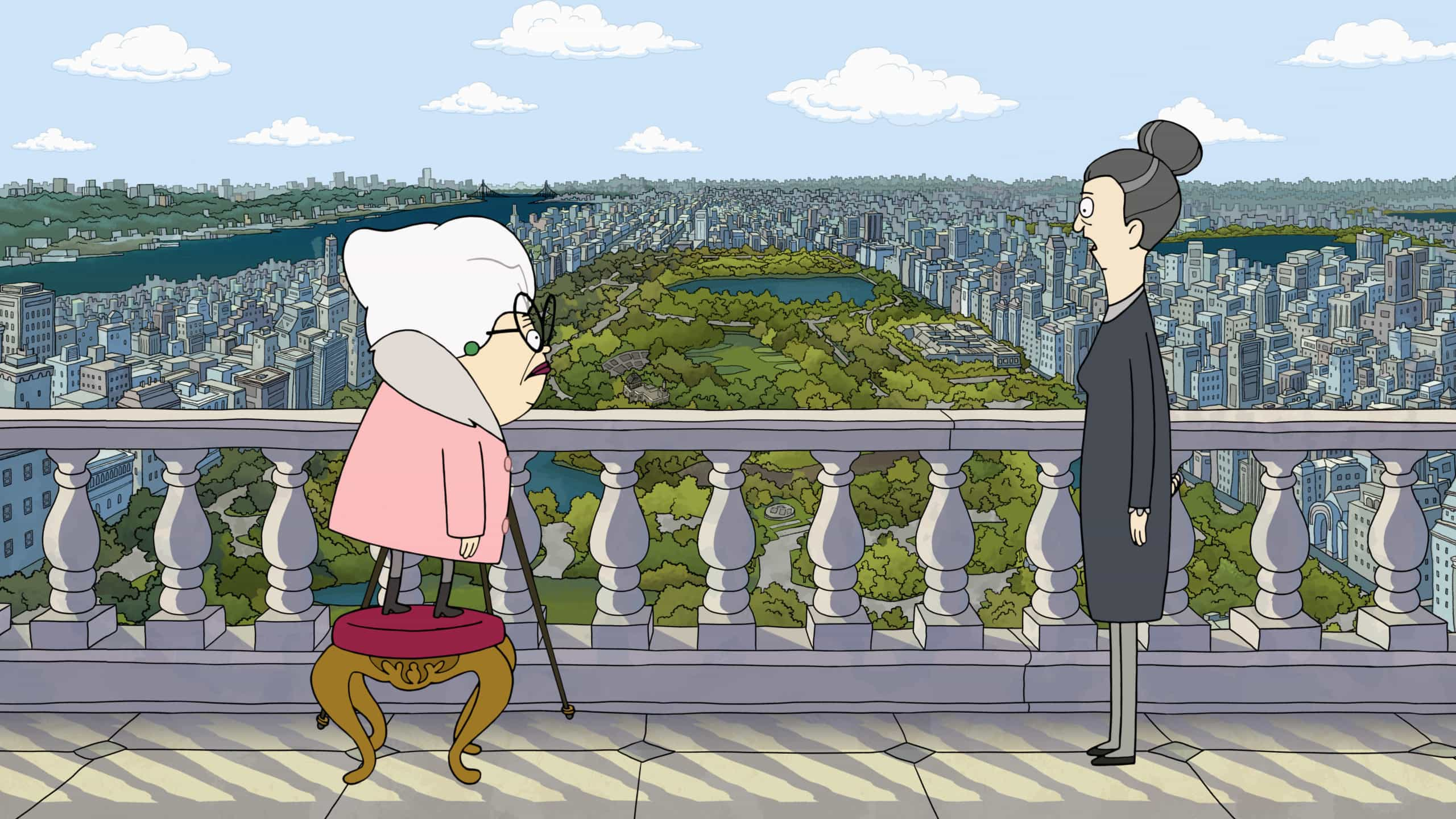 The characters voiced by Daveed Diggs and Stanley Tucci act out their own little remake of The Devil Wears Prada in Central Park.
