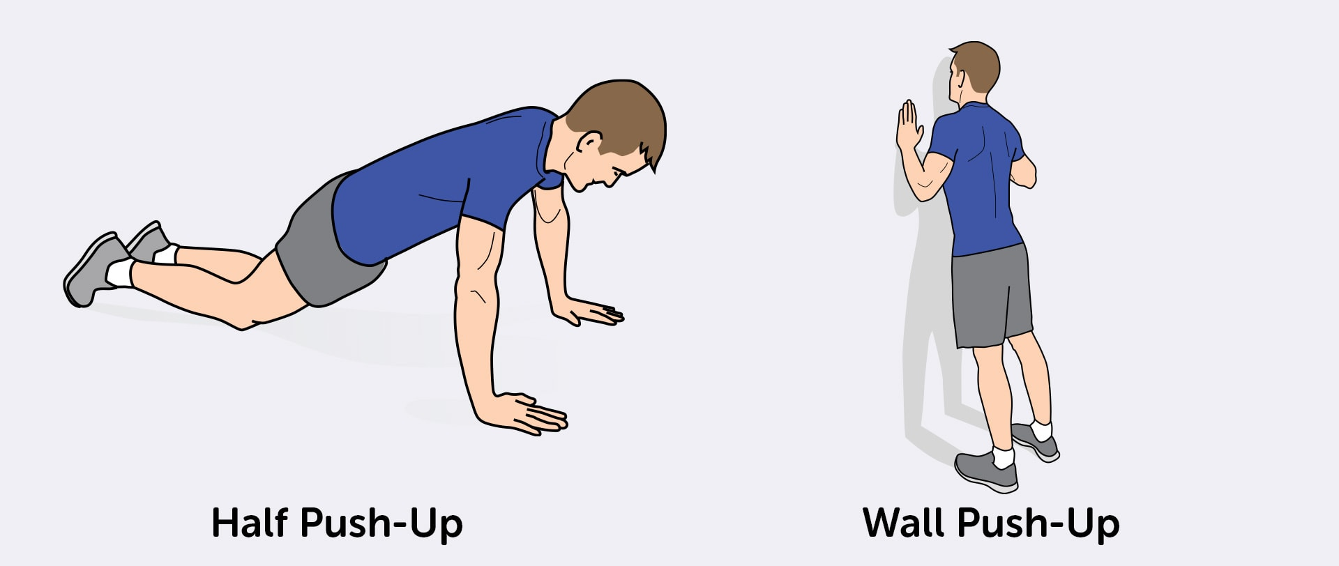 Half push-ups and wall push-ups are an easier alternative for beginners.