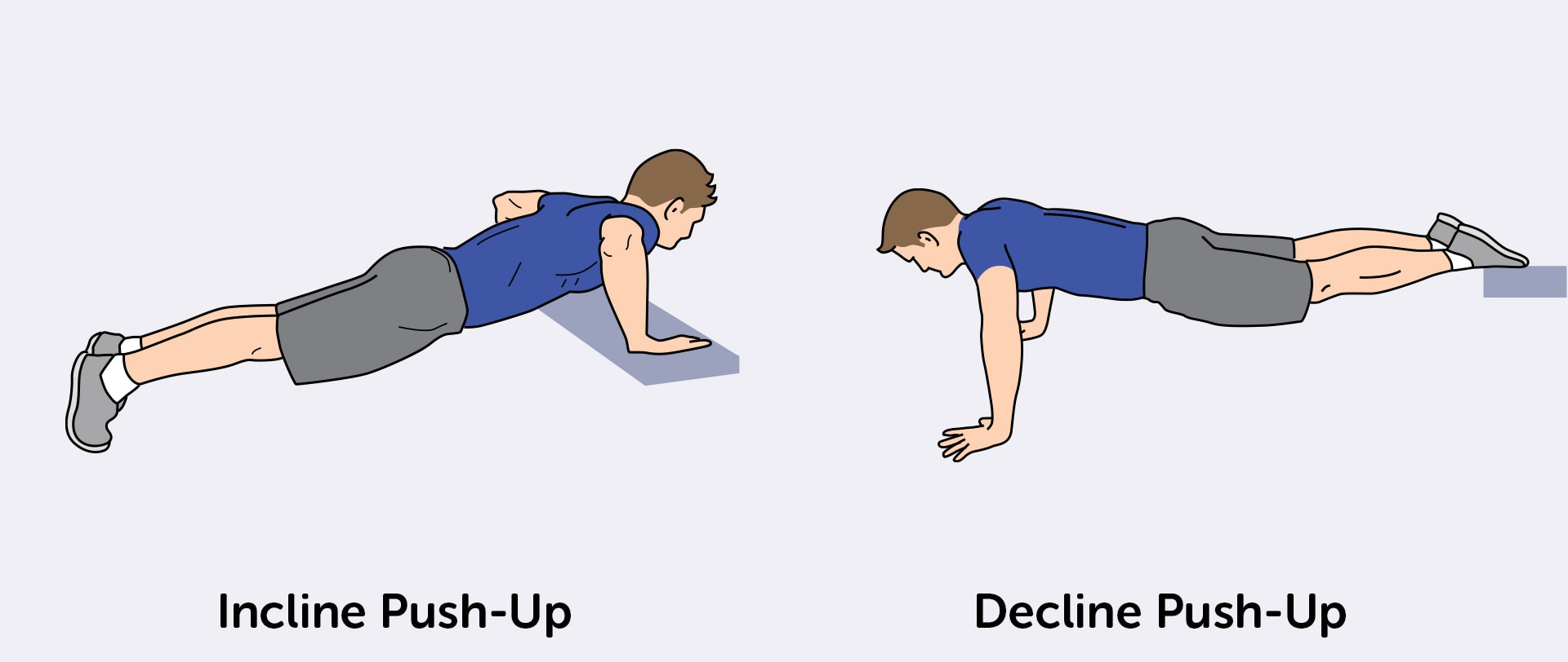 Target your lower and upper chest with incline push-ups and decline push-ups.