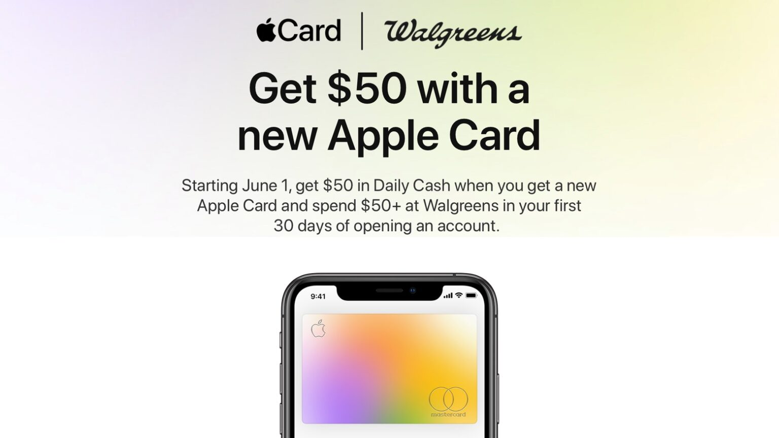 Walgreens offers an Apple Card signup bonus.
