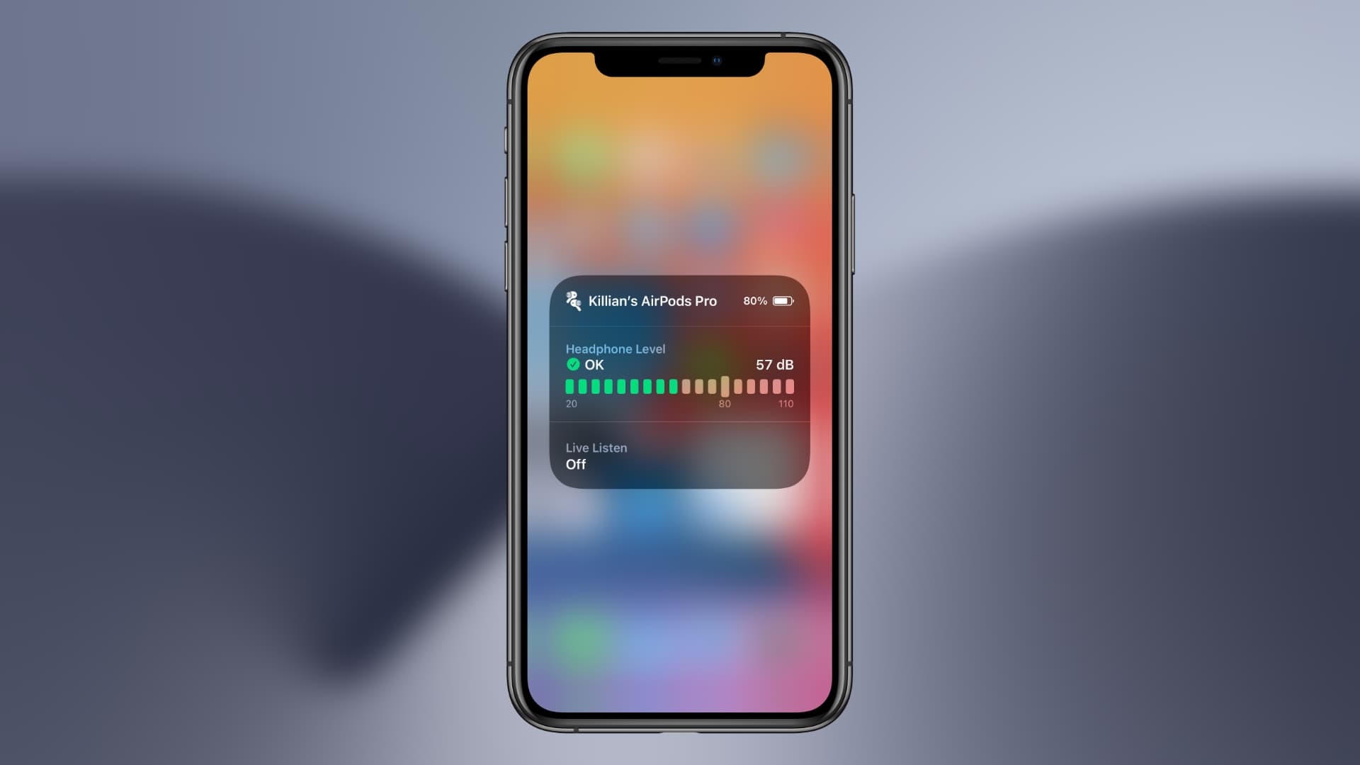 AirPods measuring noise levels in iOS 14