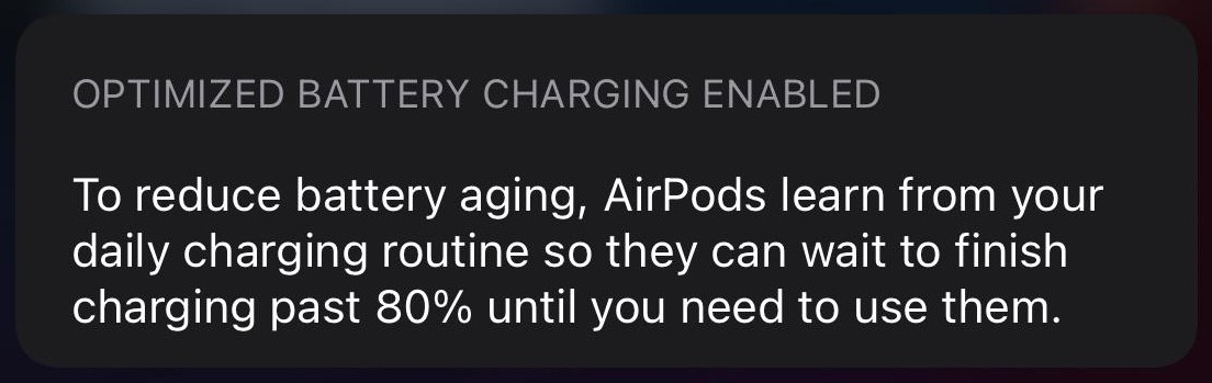 AirPods optimized charging in iOS 14
