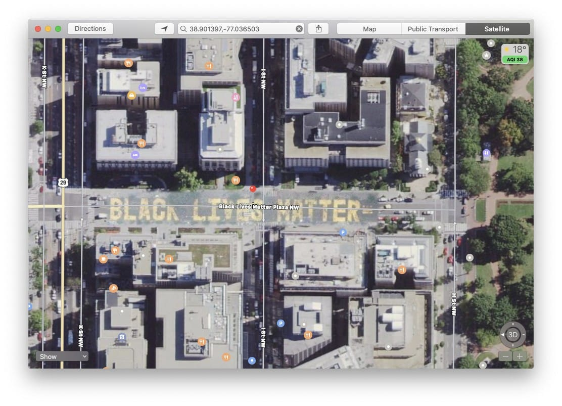 Black Lives Matter Plaza in Apple Maps
