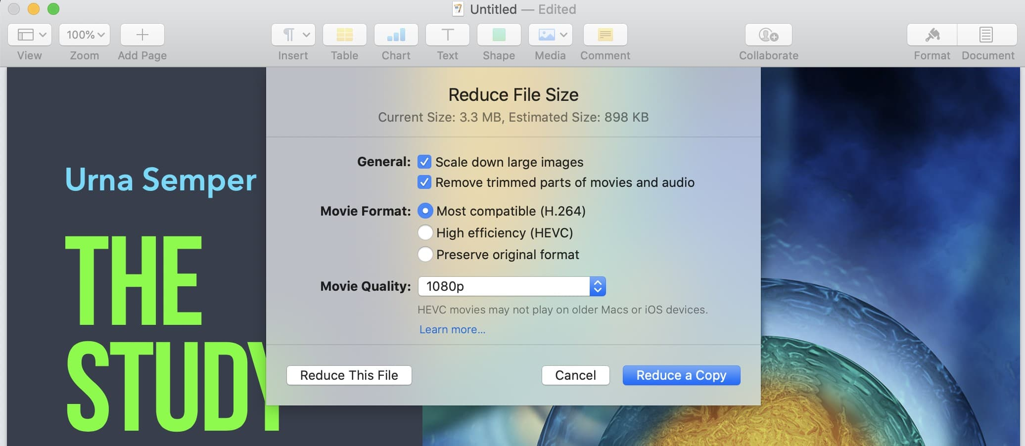 How to reduce file sizes in Pages.