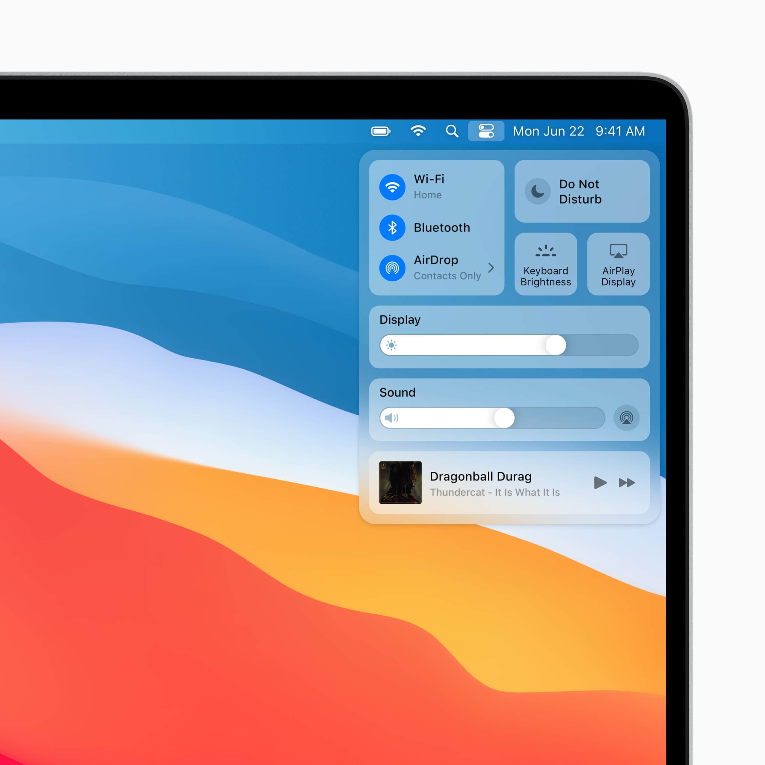 WWDC 2020: The new Control Center brings a bit of iOS to Mac.