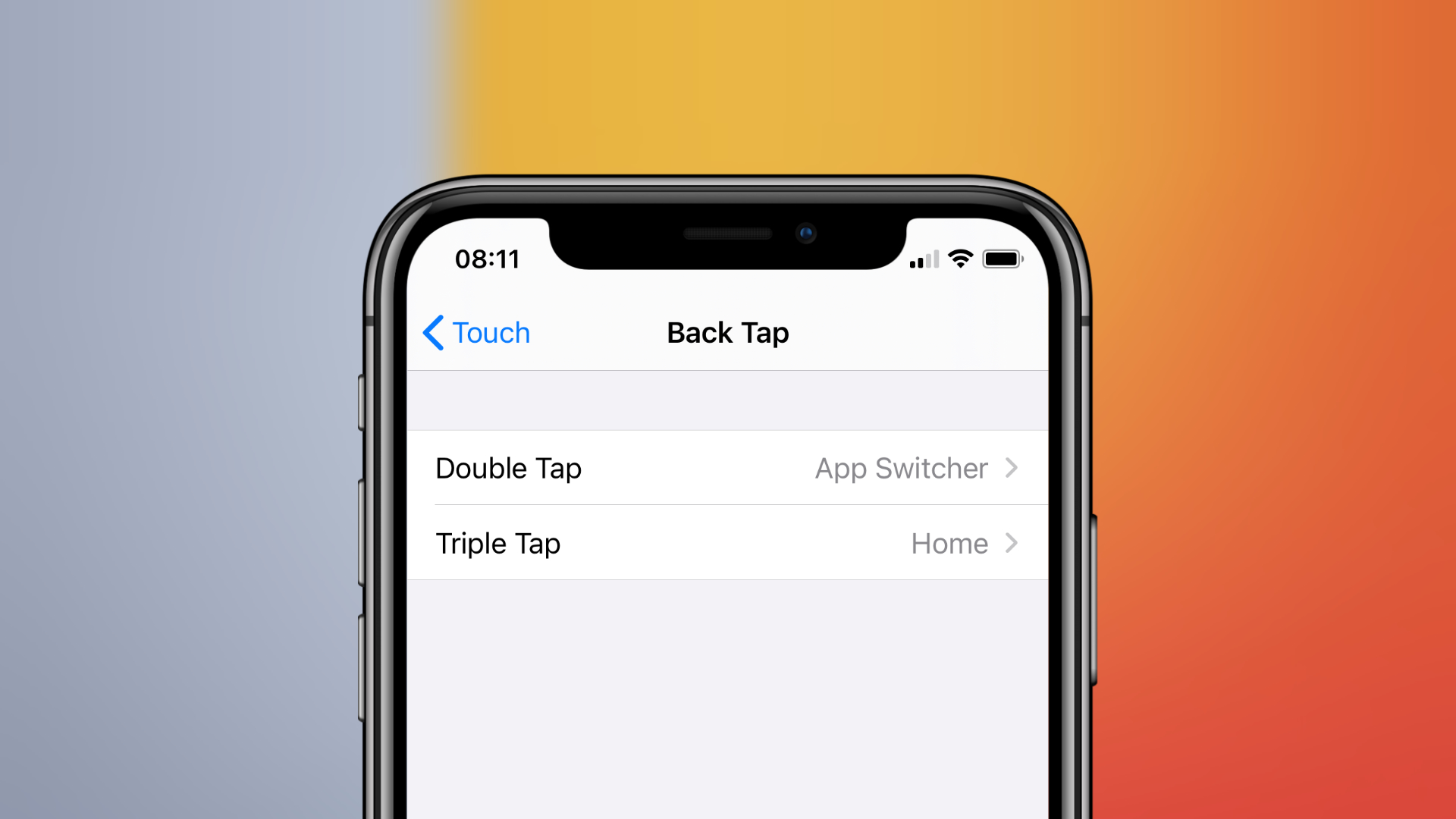 Back Tap settings in iOS 14