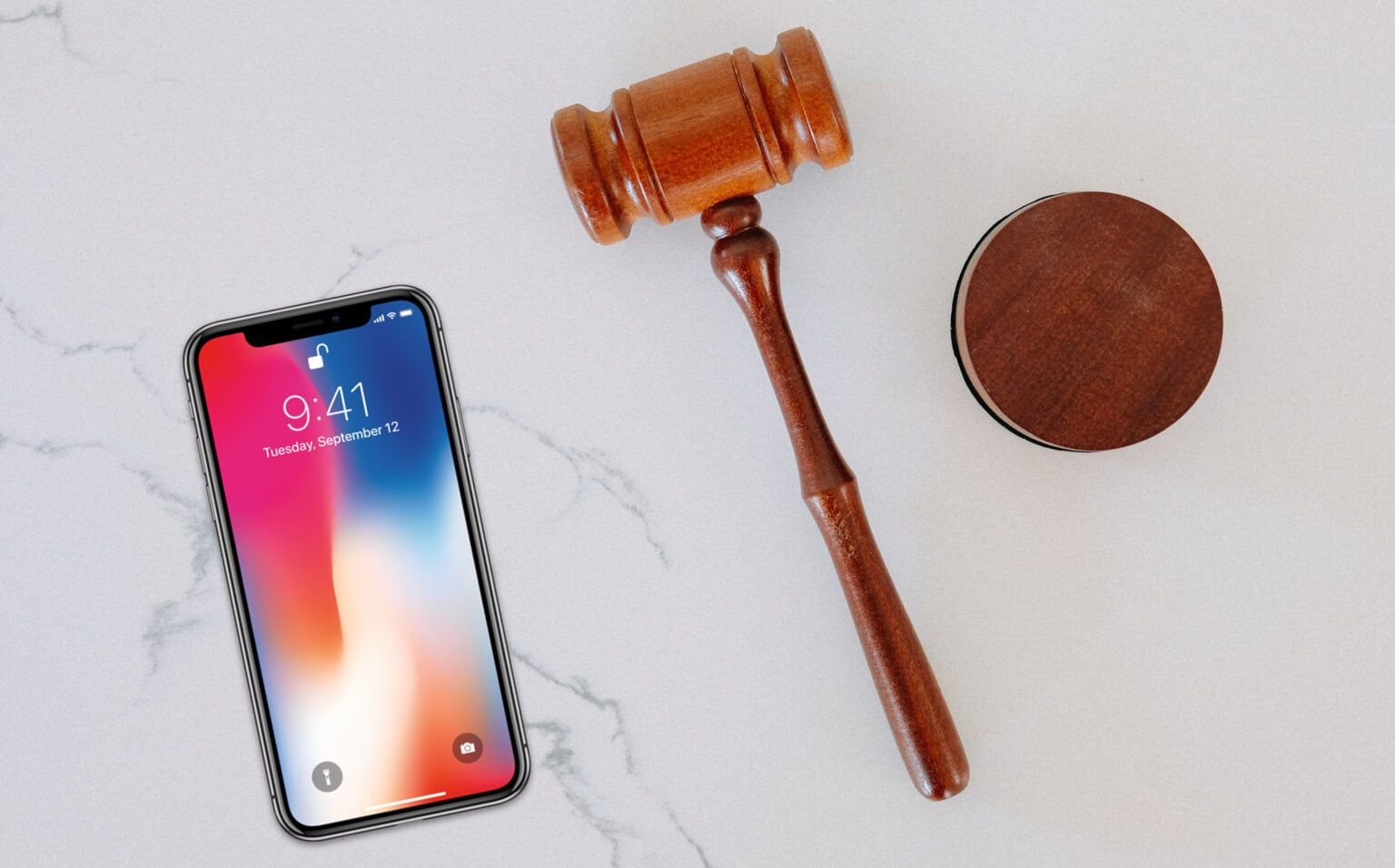 iPhone with gavel.
