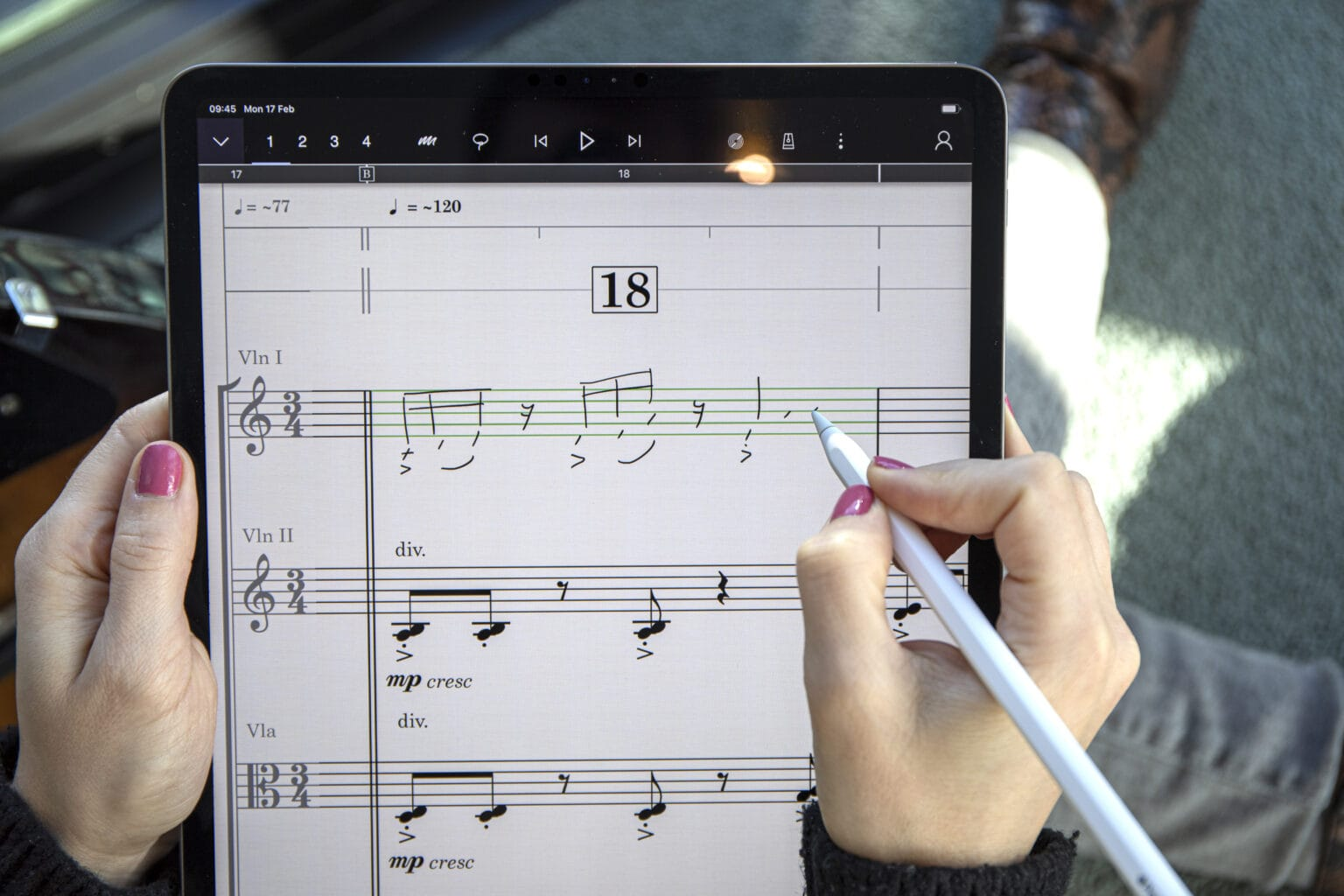 StaffPad being used on iPad