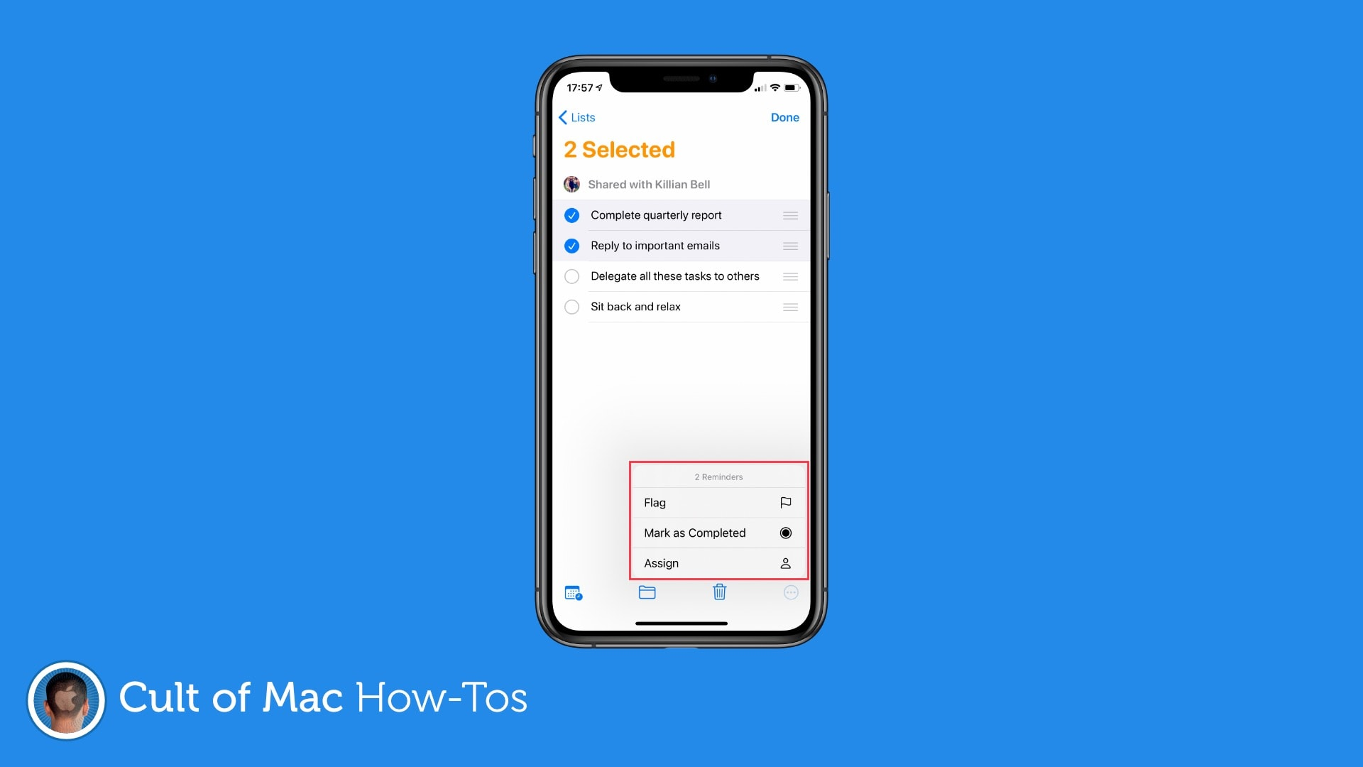 How to assign tasks in Reminders for iOS 14