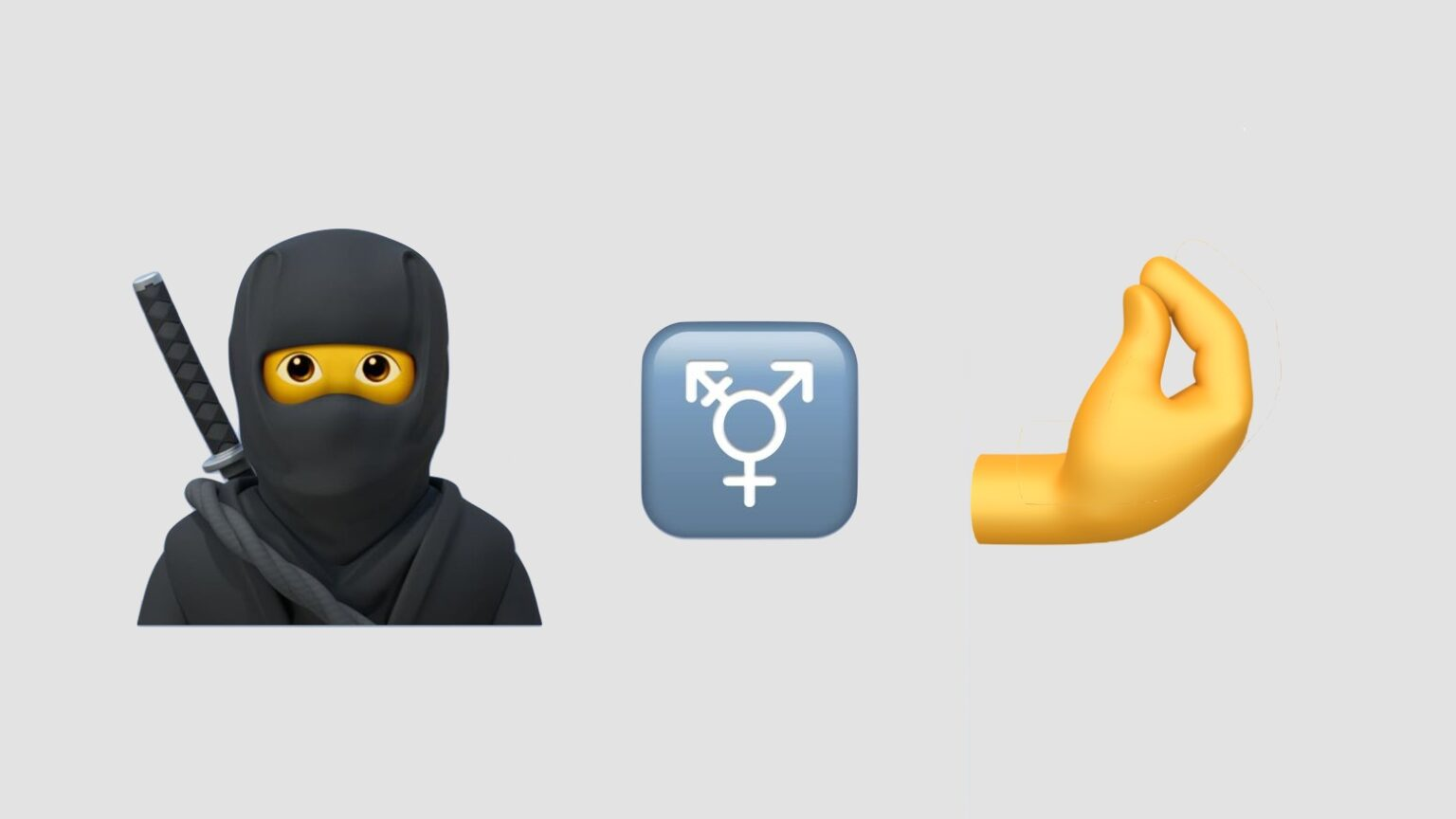 iOS 14 emoji include a ninja, the transgender symbol, and an Italian gesture.