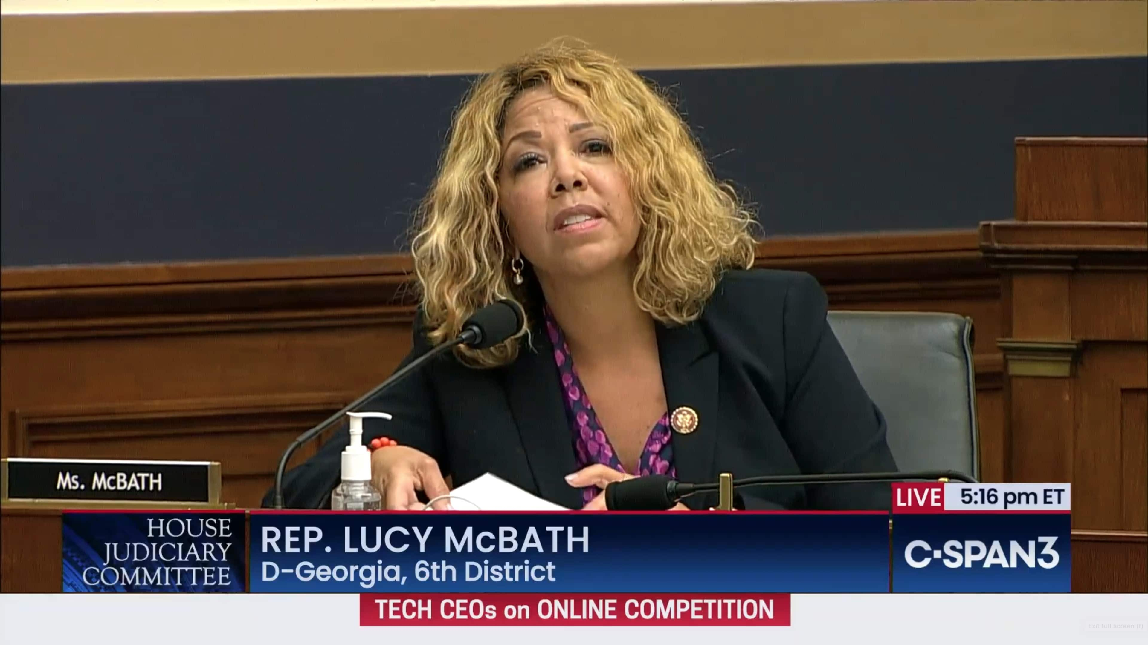 Rep. Lucy McBath did issue some pointed questions about Apple's business practices during the House Judiciary antitrust subcommittee hearing.