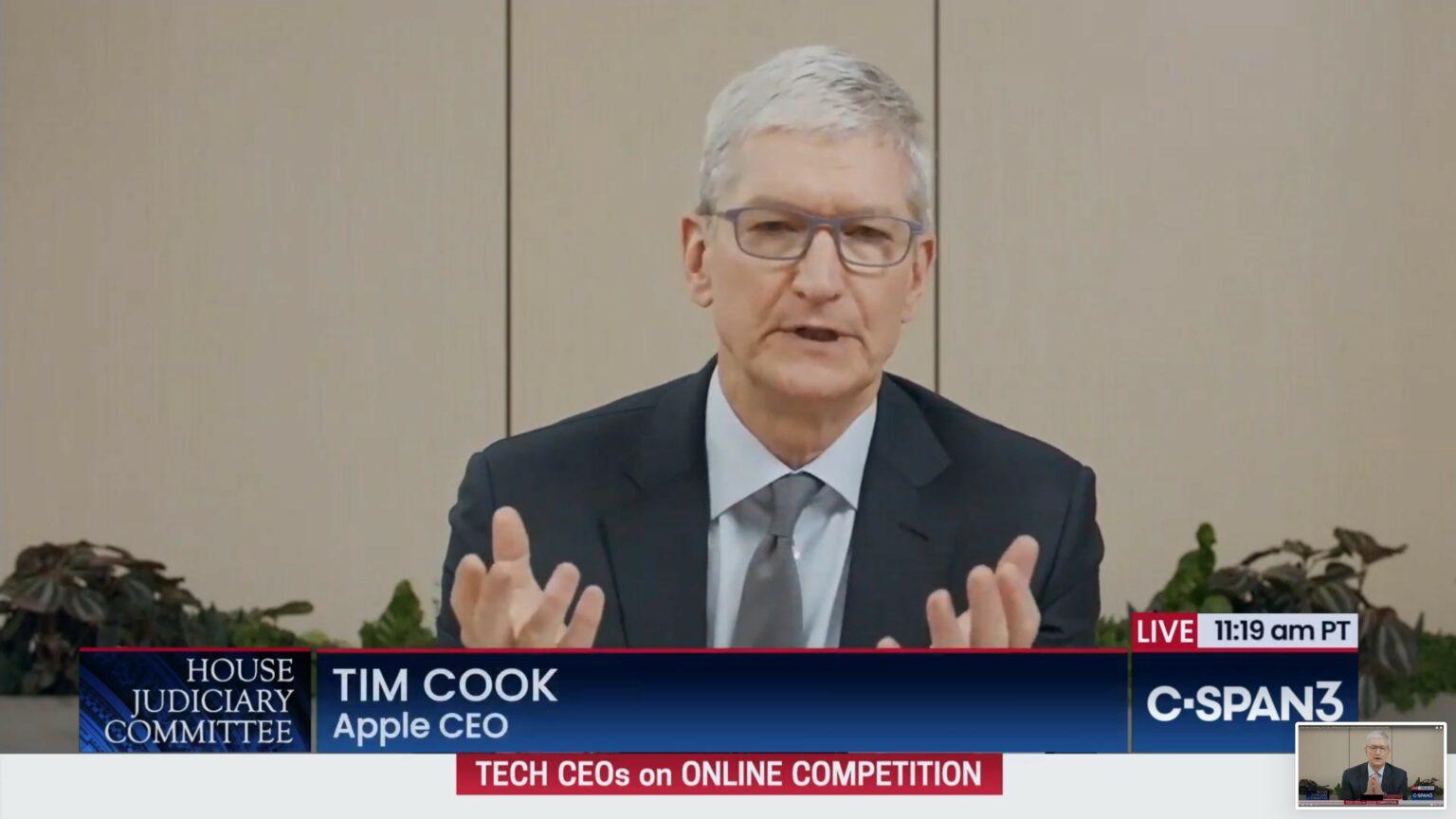 Tim Cook answers questions about App Store business practices during the House Judiciary antitrust subcommittee hearing.