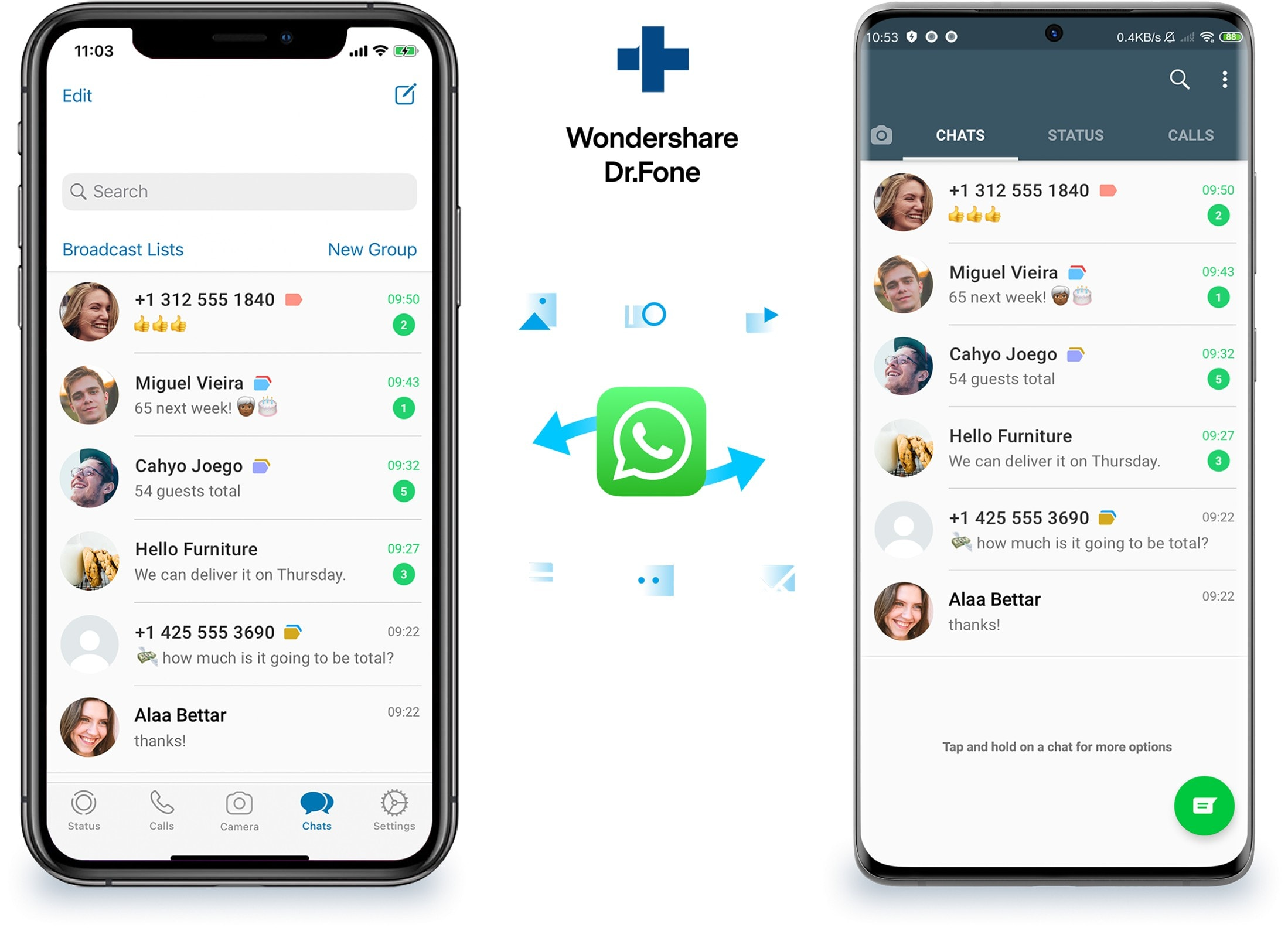 Dr.Fone   WhatsApp Transfer moves chat histories between iOS, Android