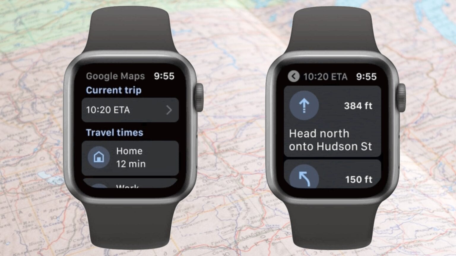Google Maps on an Apple Watch