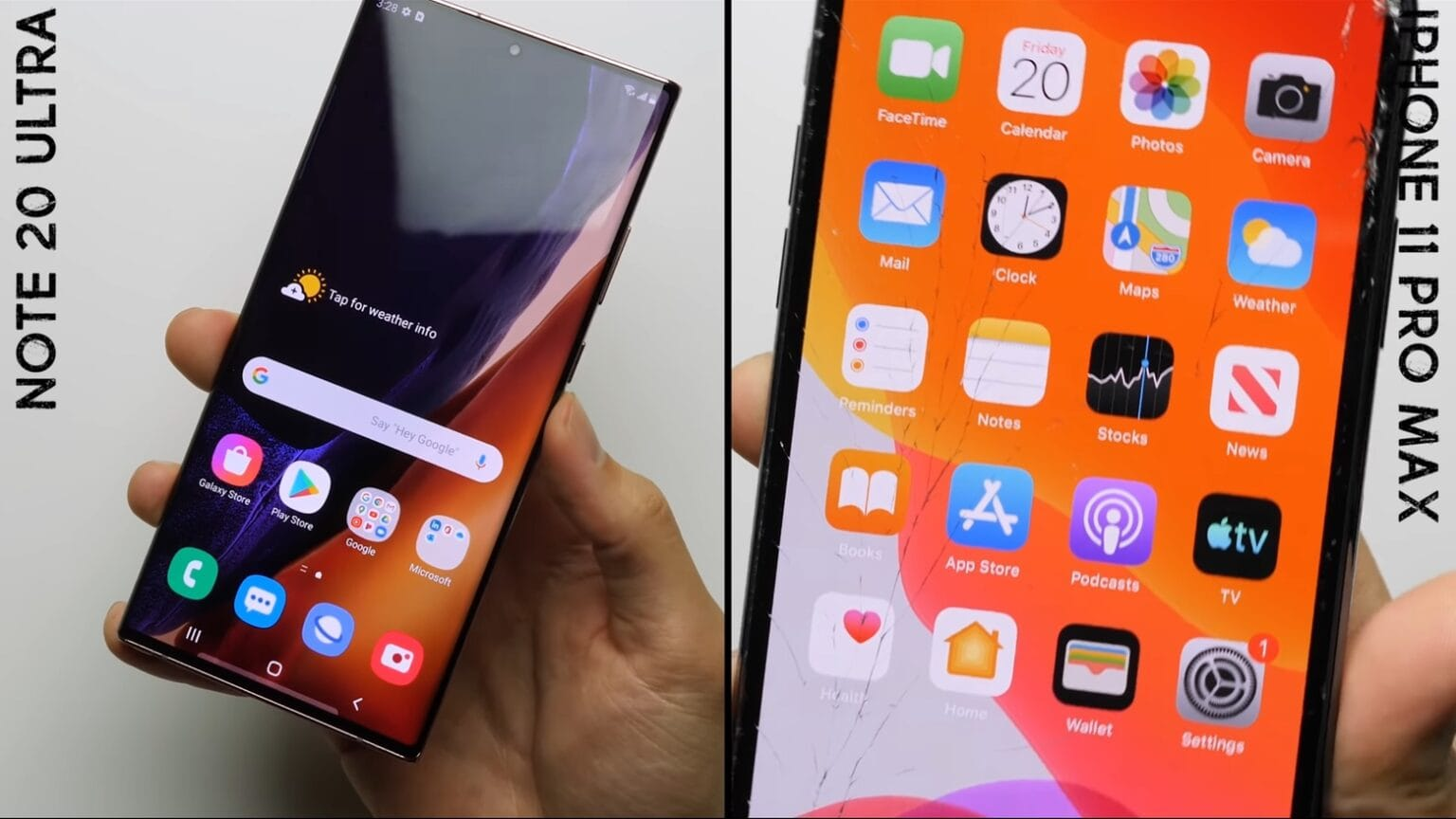 Samsung Galaxy Note 20 Ultra vs. Apple iPhone 11 Pro Max drop test