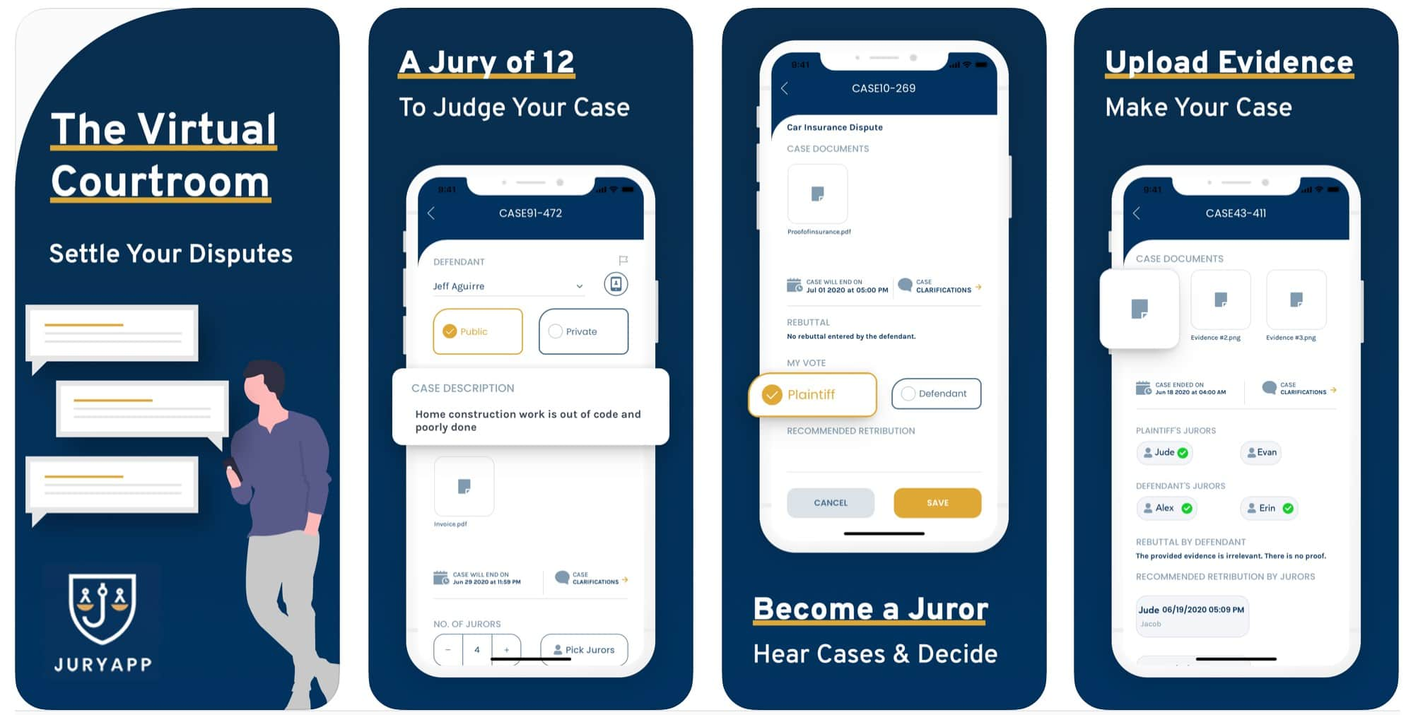 The Jury app creates a virtual courtroom. Plaintiffs and defendants pick jurors, upload evidence and get to a fair (but nonbinding) verdict.