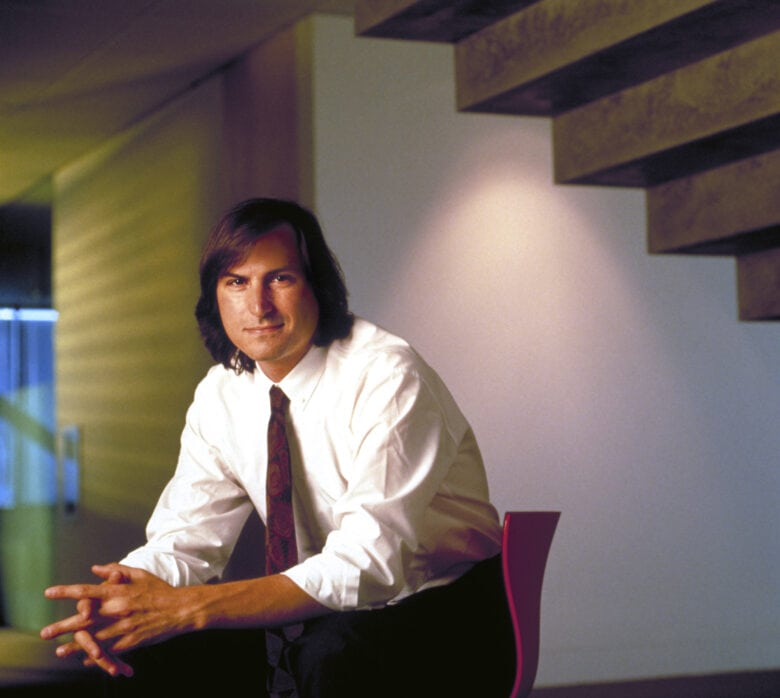 Steve Jobs Fortune photo: Steve Jobs looks calm and cool here. Minutes earlier he hadn't been.