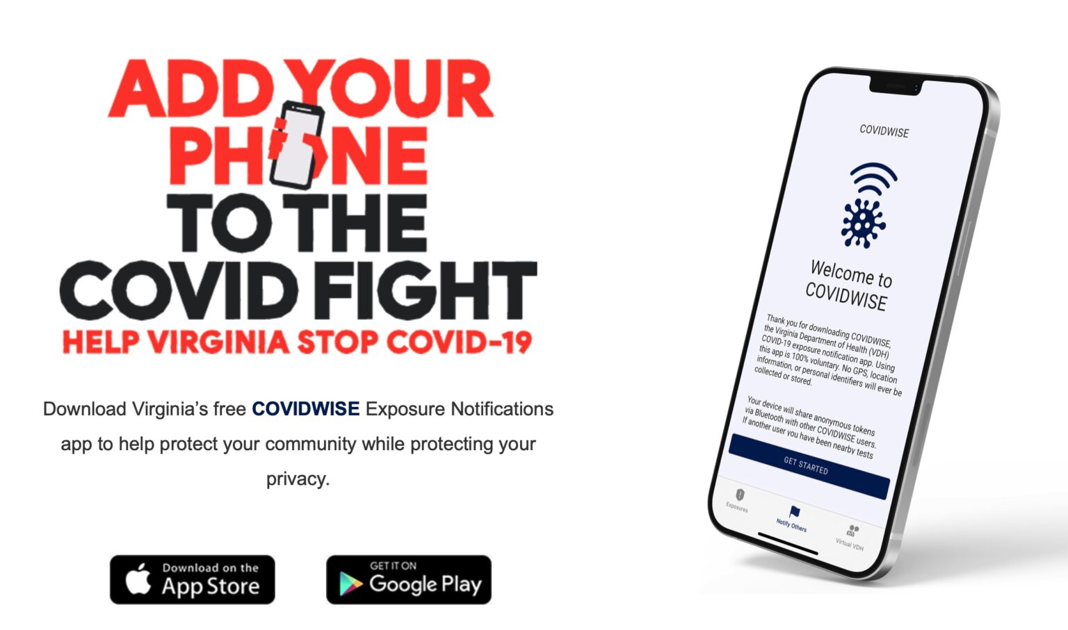 Virginia's COVIDWISE contact-tracing app uses the Exposure Notifications API developed by Apple and Google.