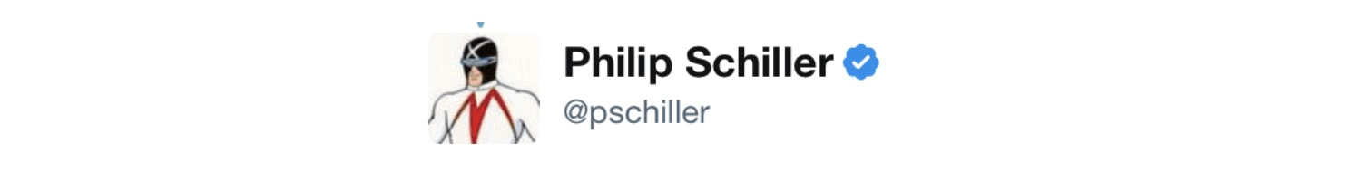 Phil Schiller's Twitter profile pic used to be the cartoon character Racer X.