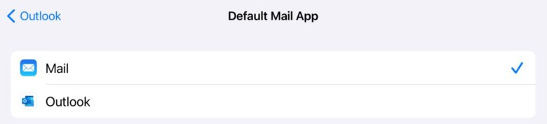 You can change the iOS default email application to Microsoft Outlook.