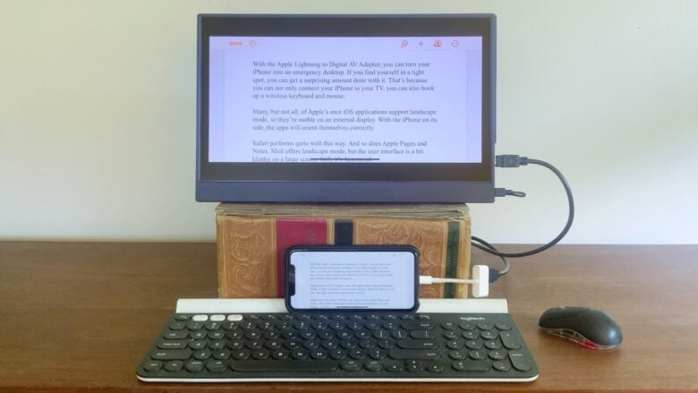 An iPhone and a second screen make a functional desktop computer.
