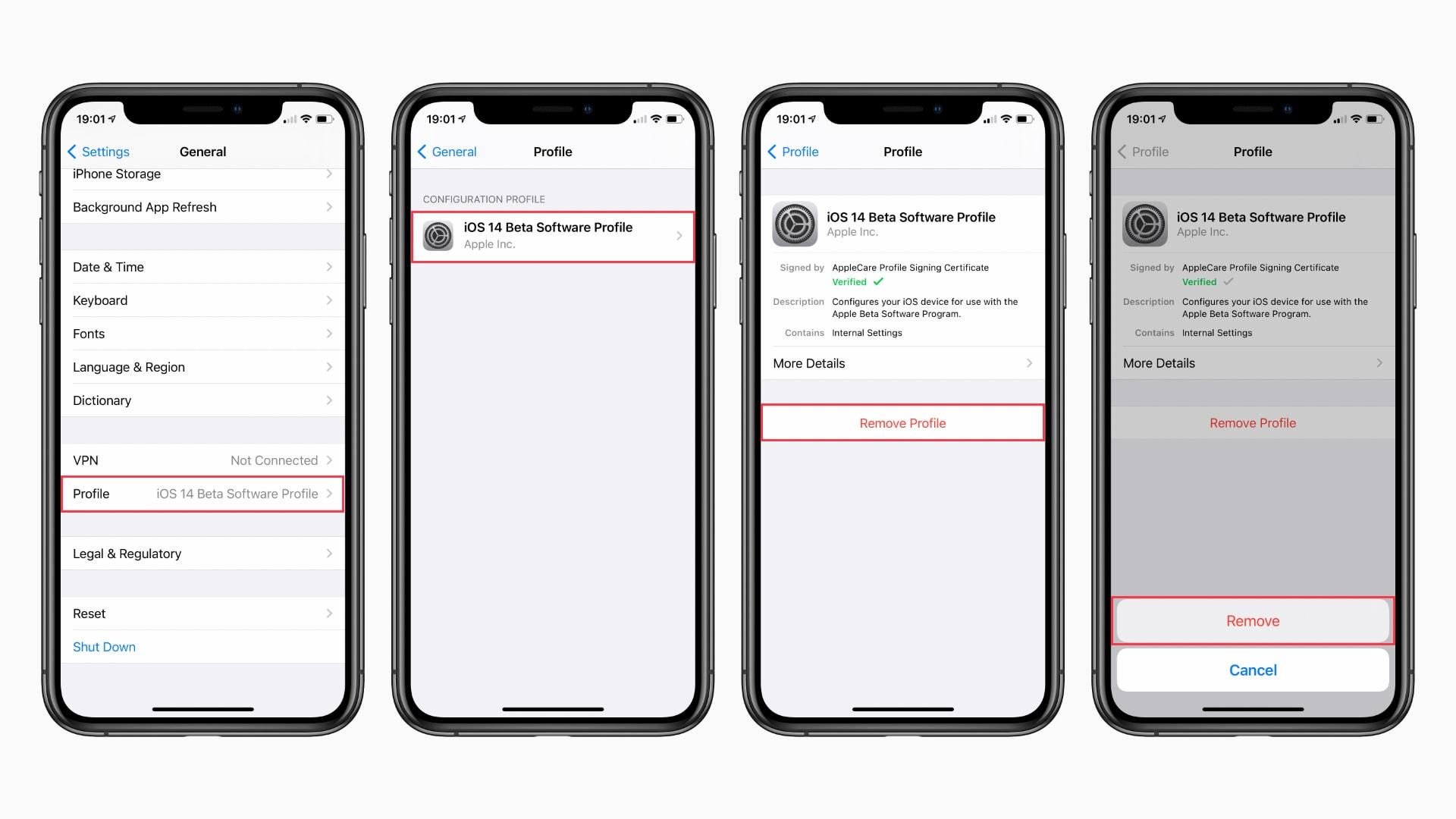 how to remove the iOS 14 beta profile